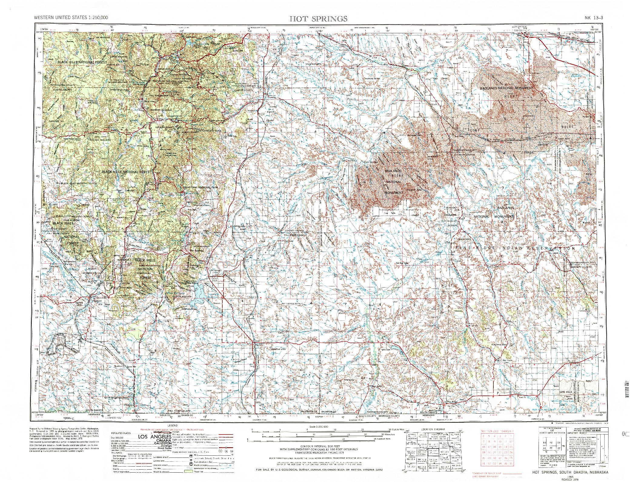 USGS 1:250000-SCALE QUADRANGLE FOR HOT SPRINGS, SD 1955