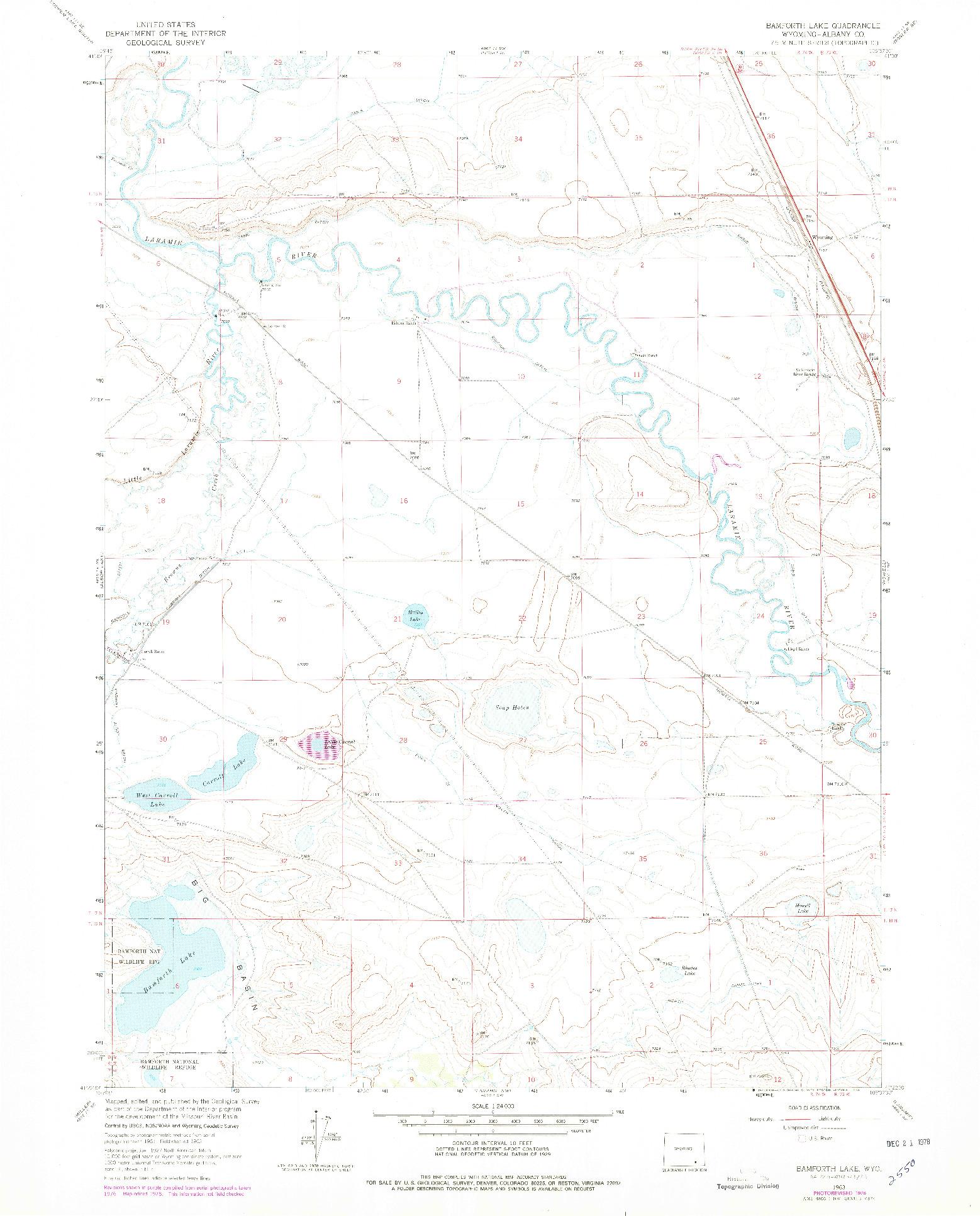 USGS 1:24000-SCALE QUADRANGLE FOR BAMFORTH LAKE, WY 1963