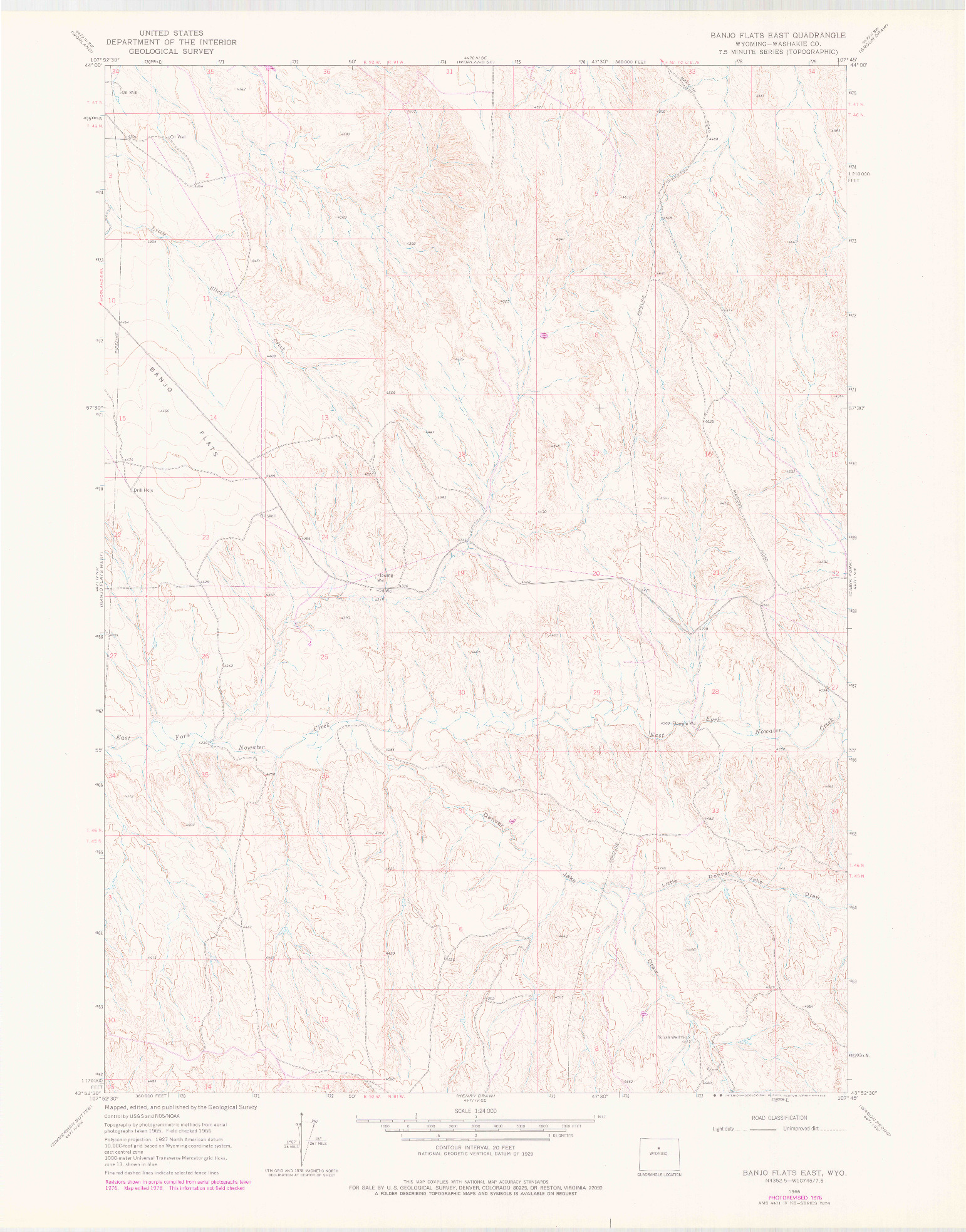 USGS 1:24000-SCALE QUADRANGLE FOR BANJO FLATS EAST, WY 1966
