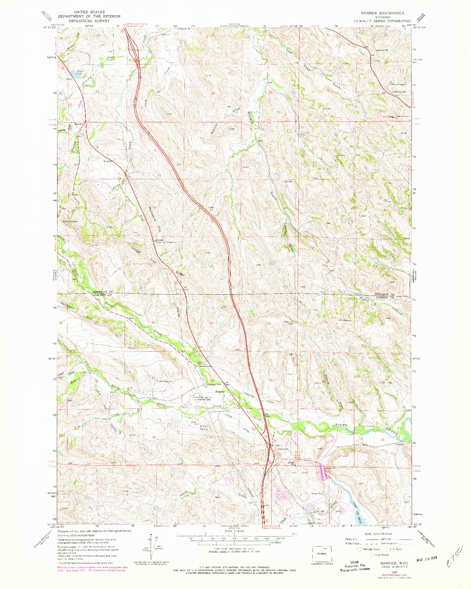 USGS 1:24000-SCALE QUADRANGLE FOR BANNER, WY 1967