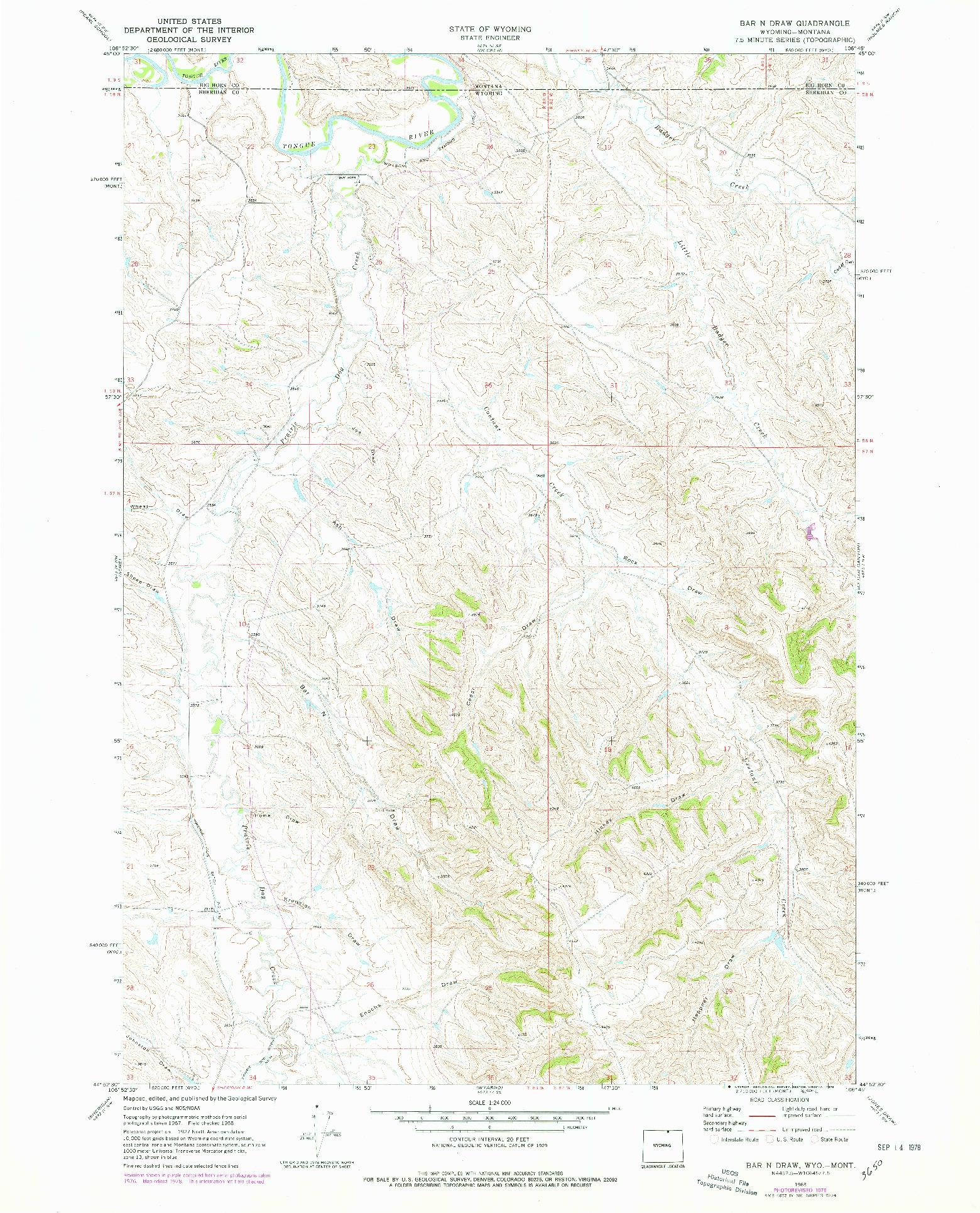 USGS 1:24000-SCALE QUADRANGLE FOR BAR N DRAW, WY 1968