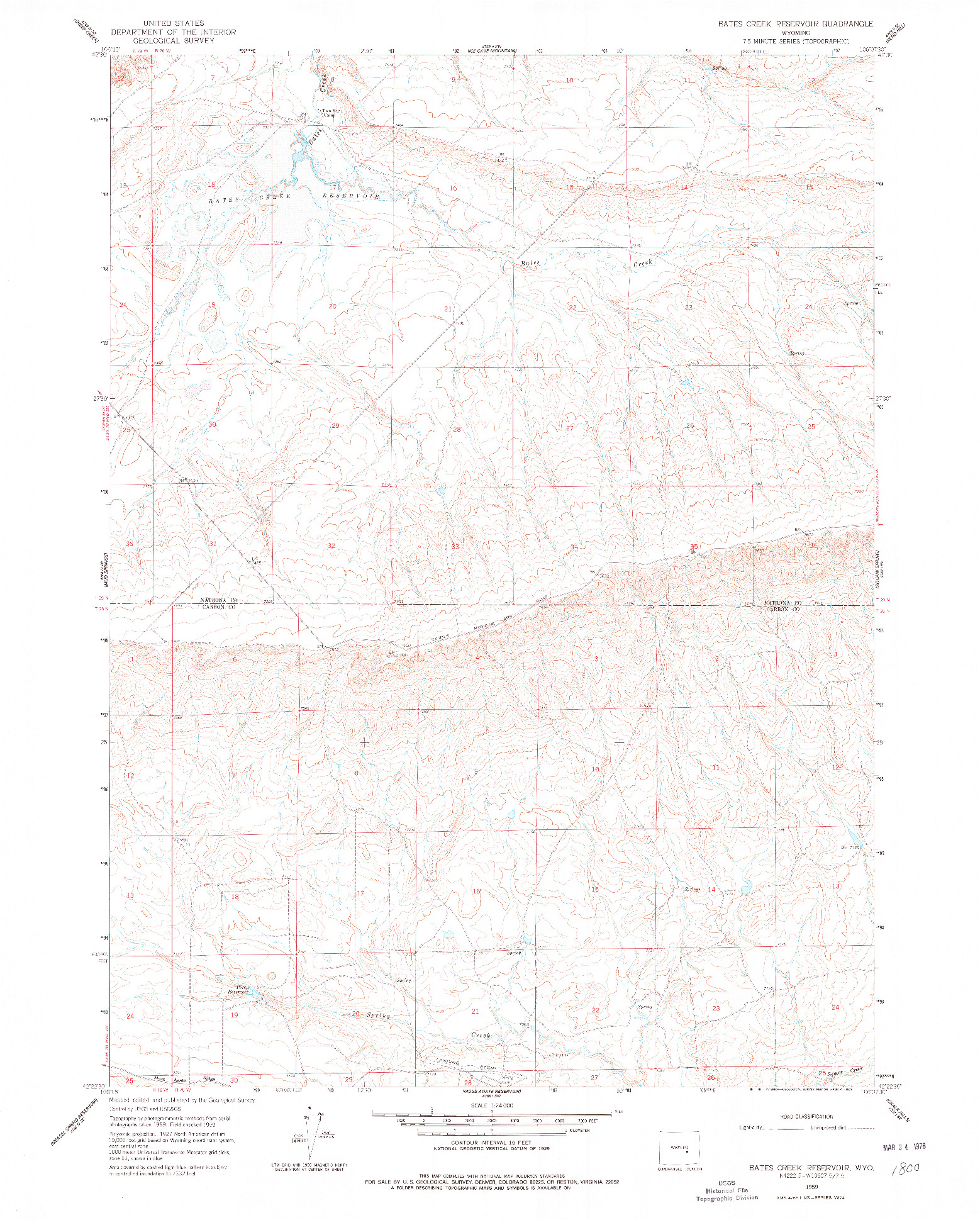 USGS 1:24000-SCALE QUADRANGLE FOR BATES CREEK RESERVOIR, WY 1959