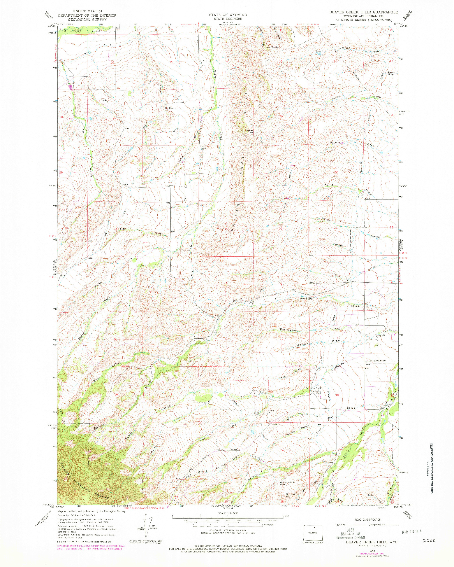 USGS 1:24000-SCALE QUADRANGLE FOR BEAVER CREEK HILLS, WY 1964