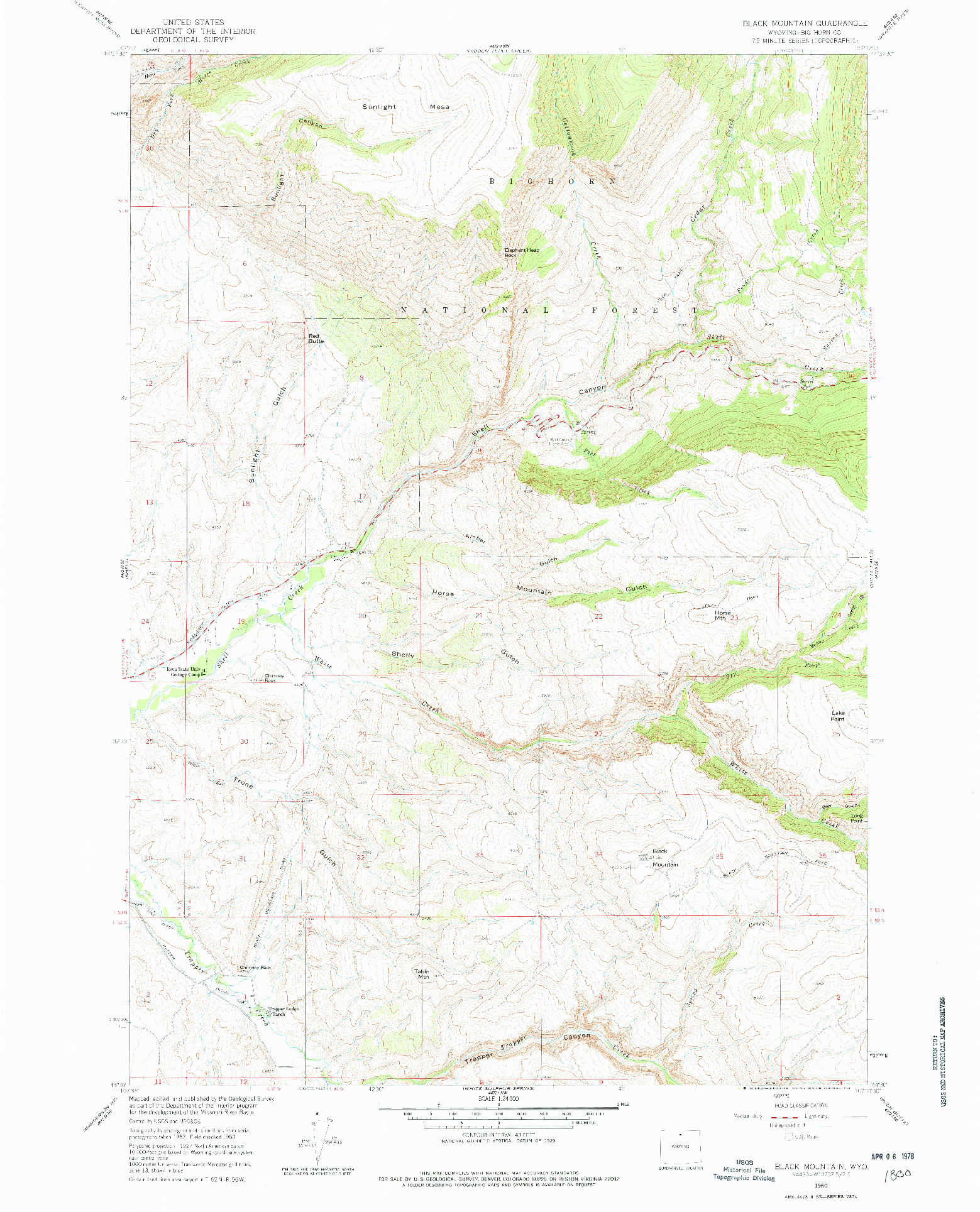 USGS 1:24000-SCALE QUADRANGLE FOR BLACK MOUNTAIN, WY 1960