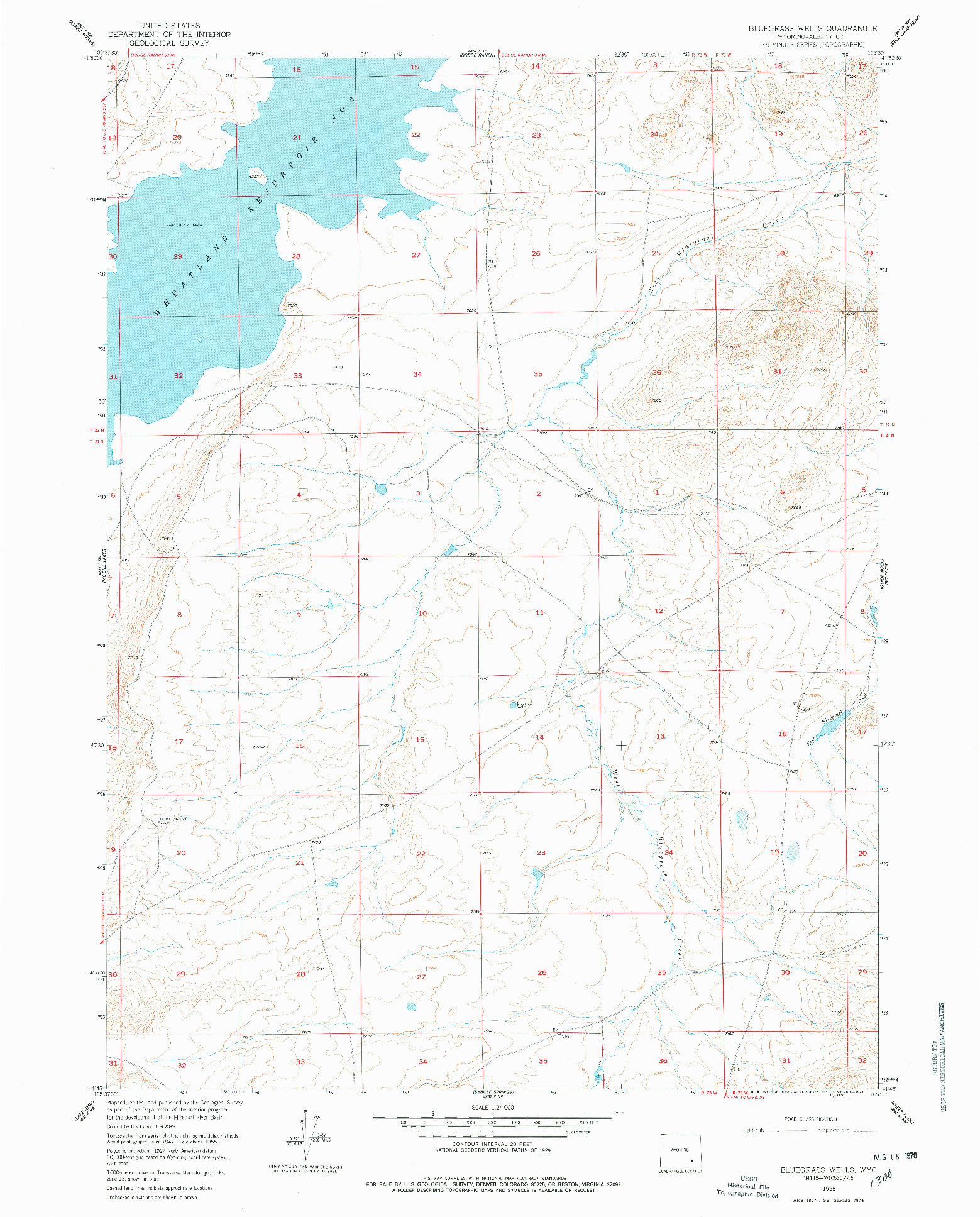 USGS 1:24000-SCALE QUADRANGLE FOR BLUEGRASS WELLS, WY 1955