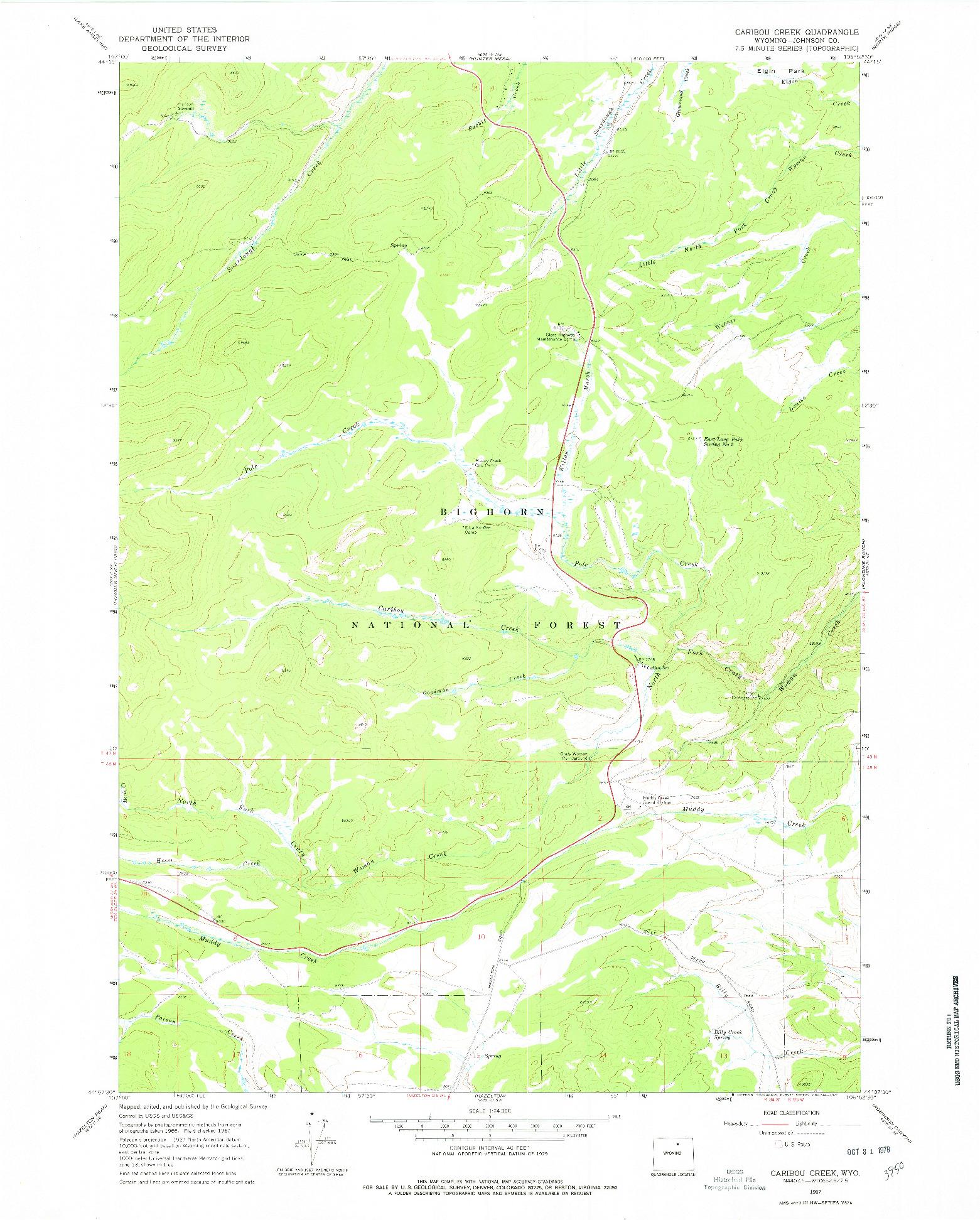 USGS 1:24000-SCALE QUADRANGLE FOR CARIBOU CREEK, WY 1967