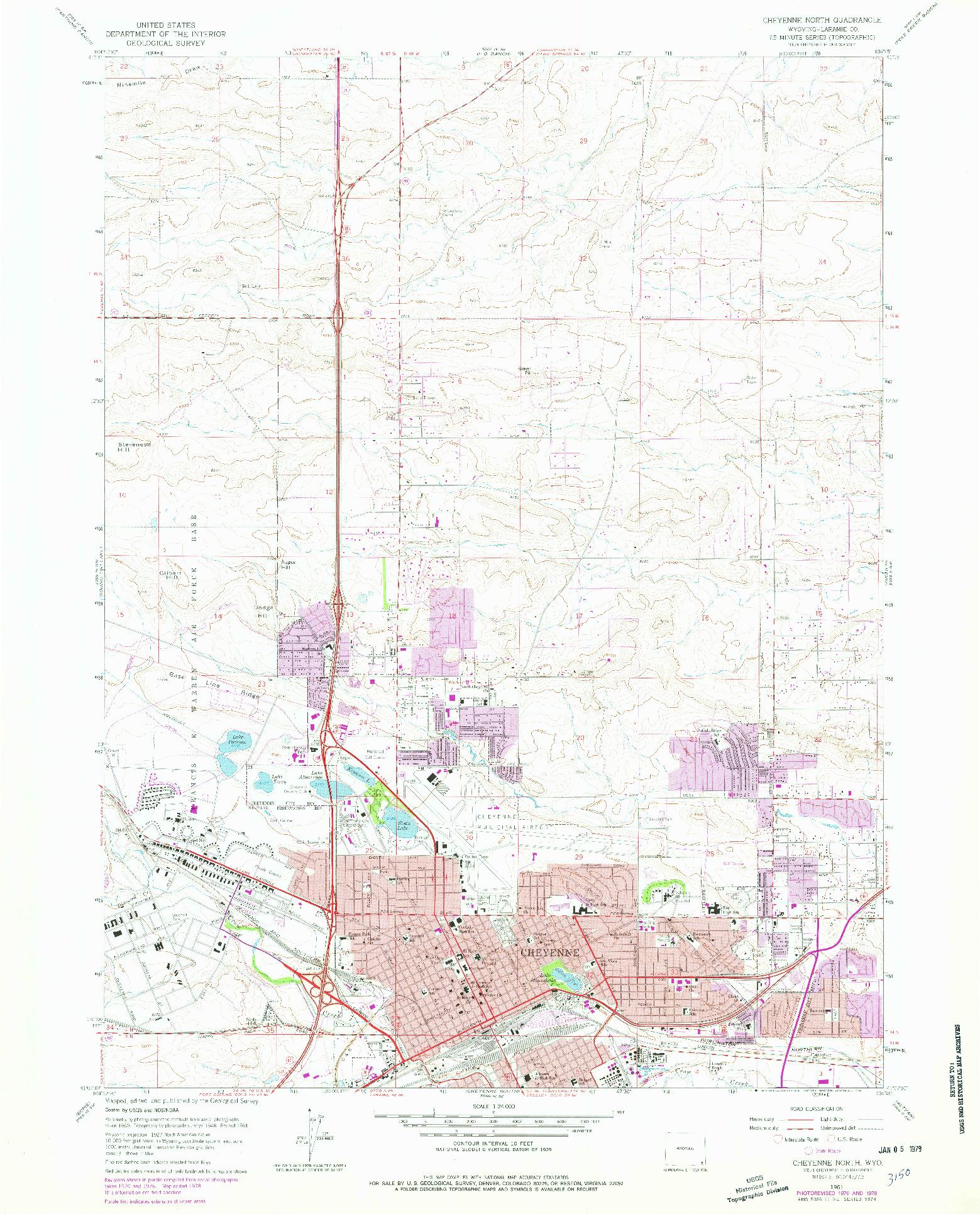 USGS 1:24000-SCALE QUADRANGLE FOR CHEYENNE NORTH, WY 1961