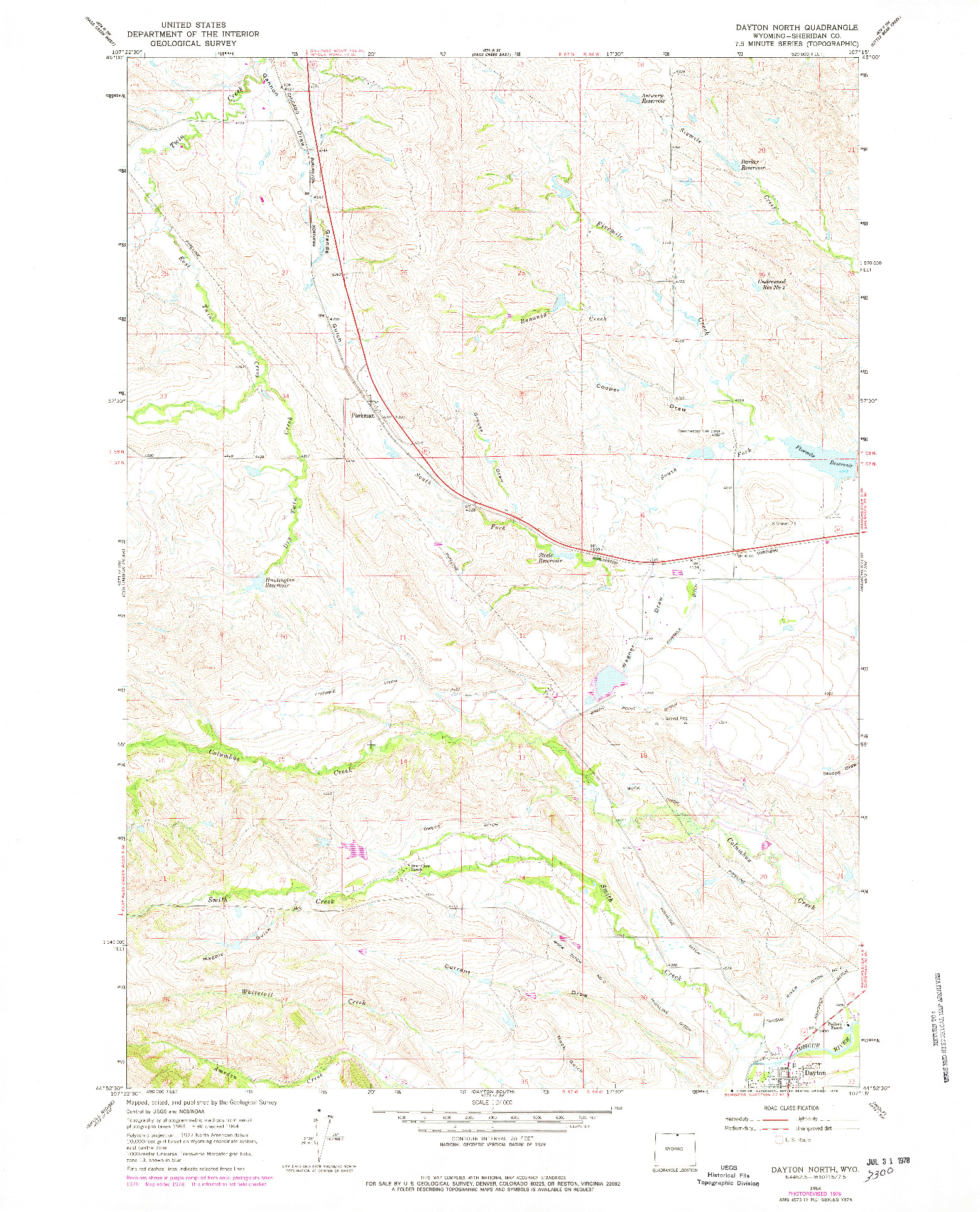 USGS 1:24000-SCALE QUADRANGLE FOR DAYTON NORTH, WY 1964