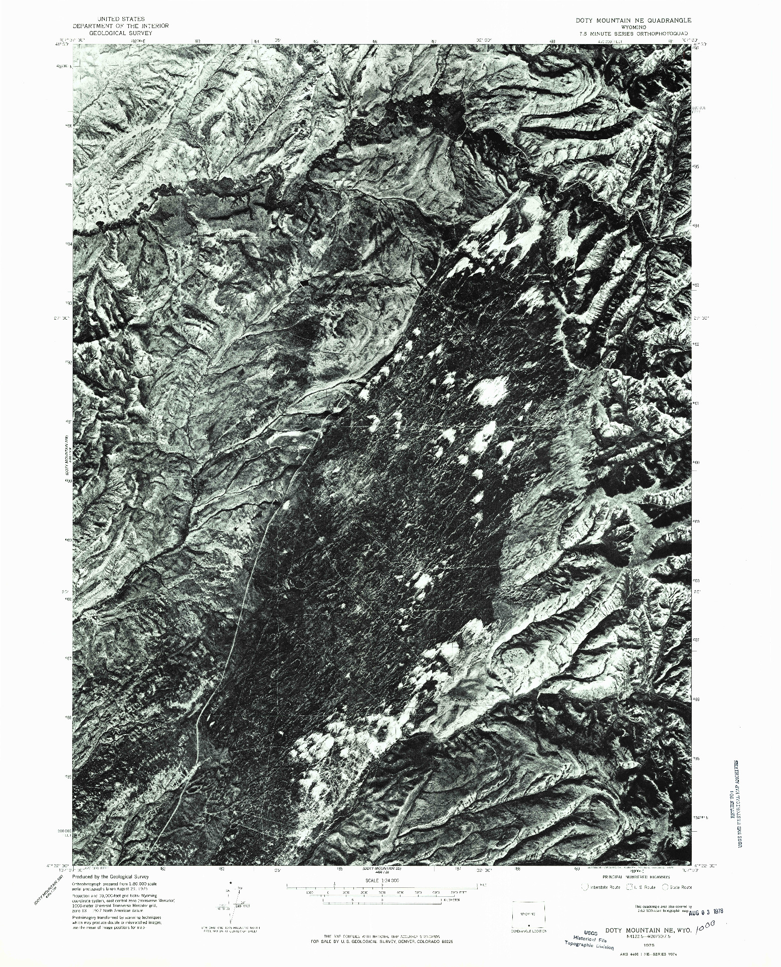 USGS 1:24000-SCALE QUADRANGLE FOR DOTY MOUNTAIN NE, WY 1975