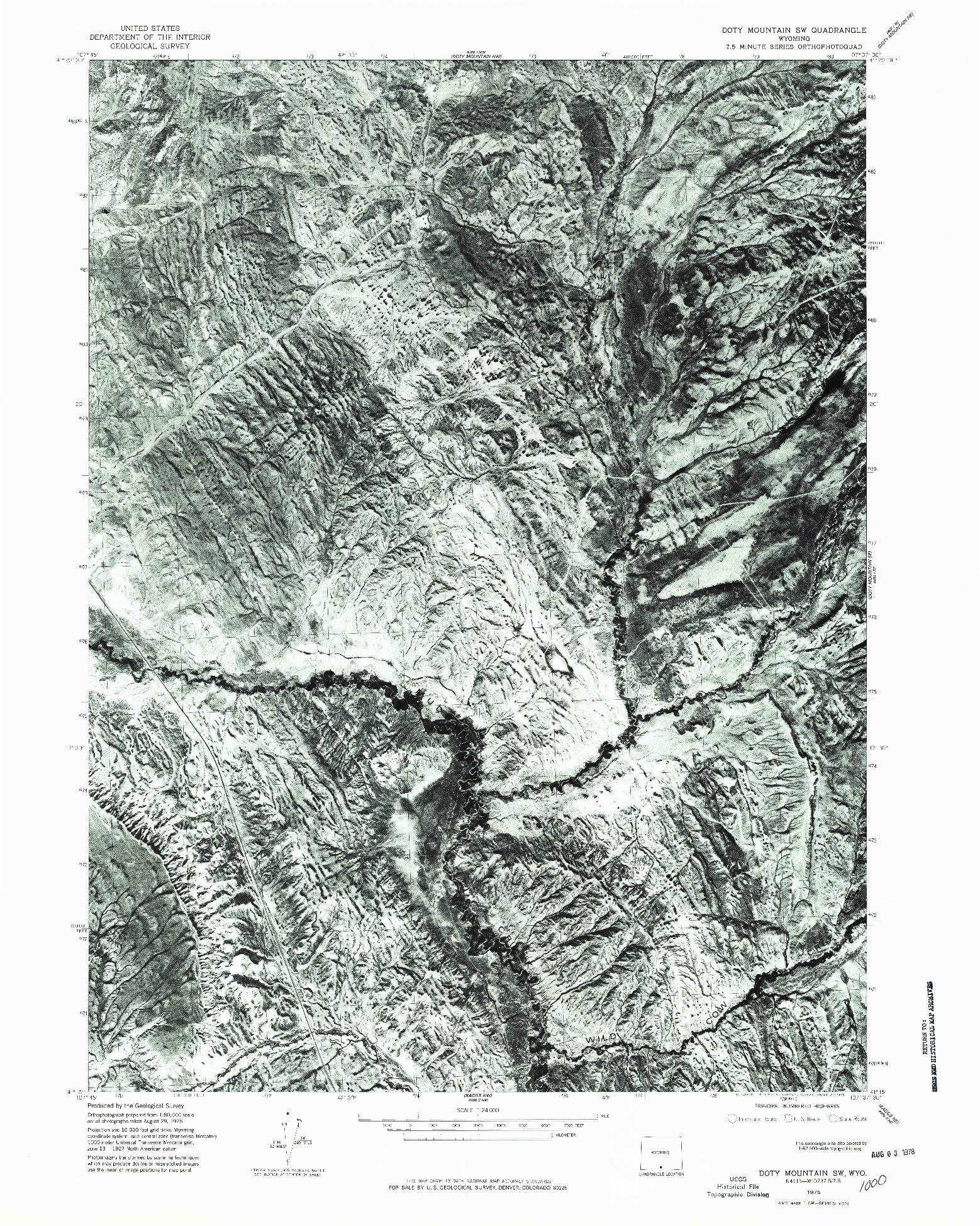 USGS 1:24000-SCALE QUADRANGLE FOR DOTY MOUNTAIN SW, WY 1975
