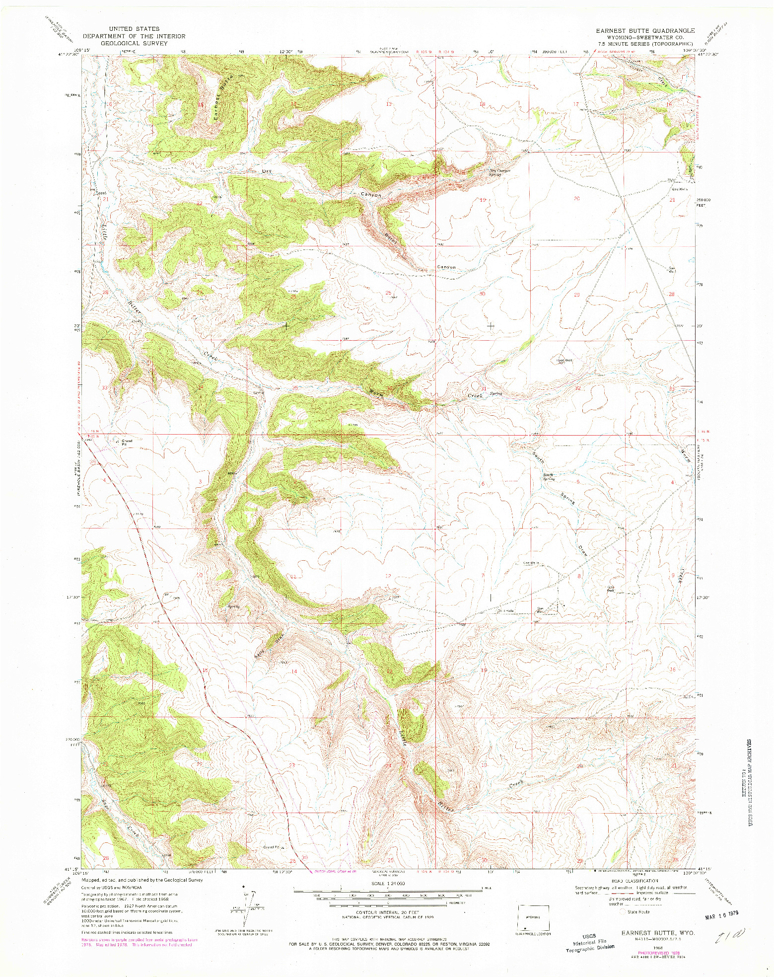 USGS 1:24000-SCALE QUADRANGLE FOR EARNEST BUTTE, WY 1968