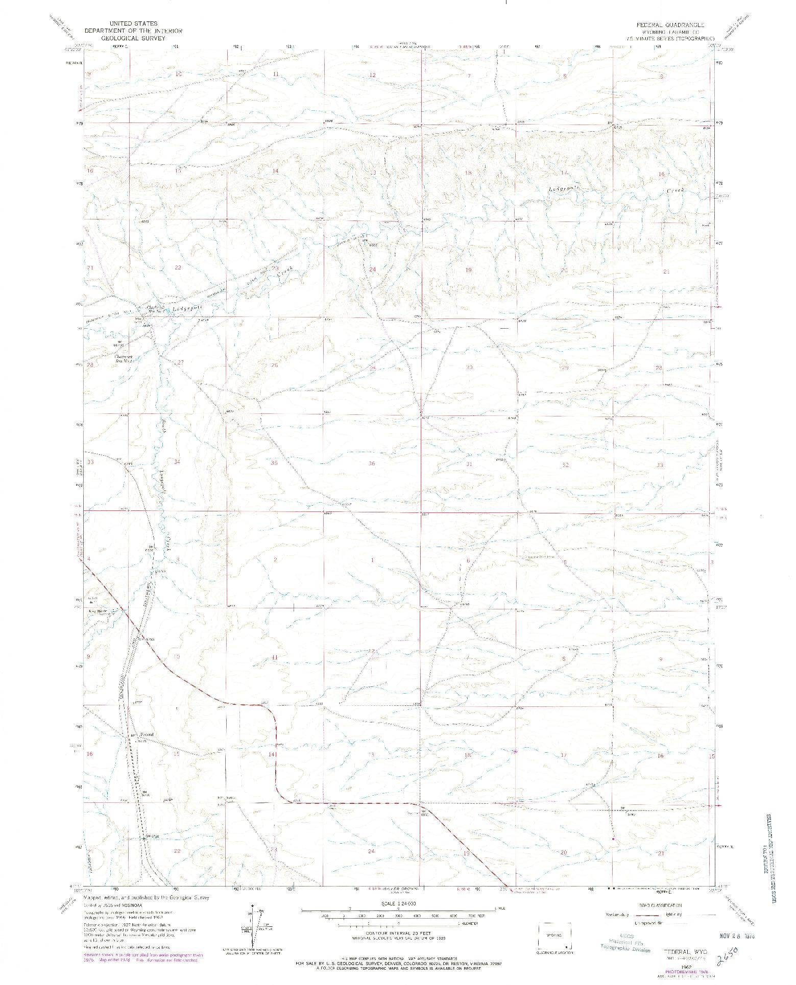 USGS 1:24000-SCALE QUADRANGLE FOR FEDERAL, WY 1962