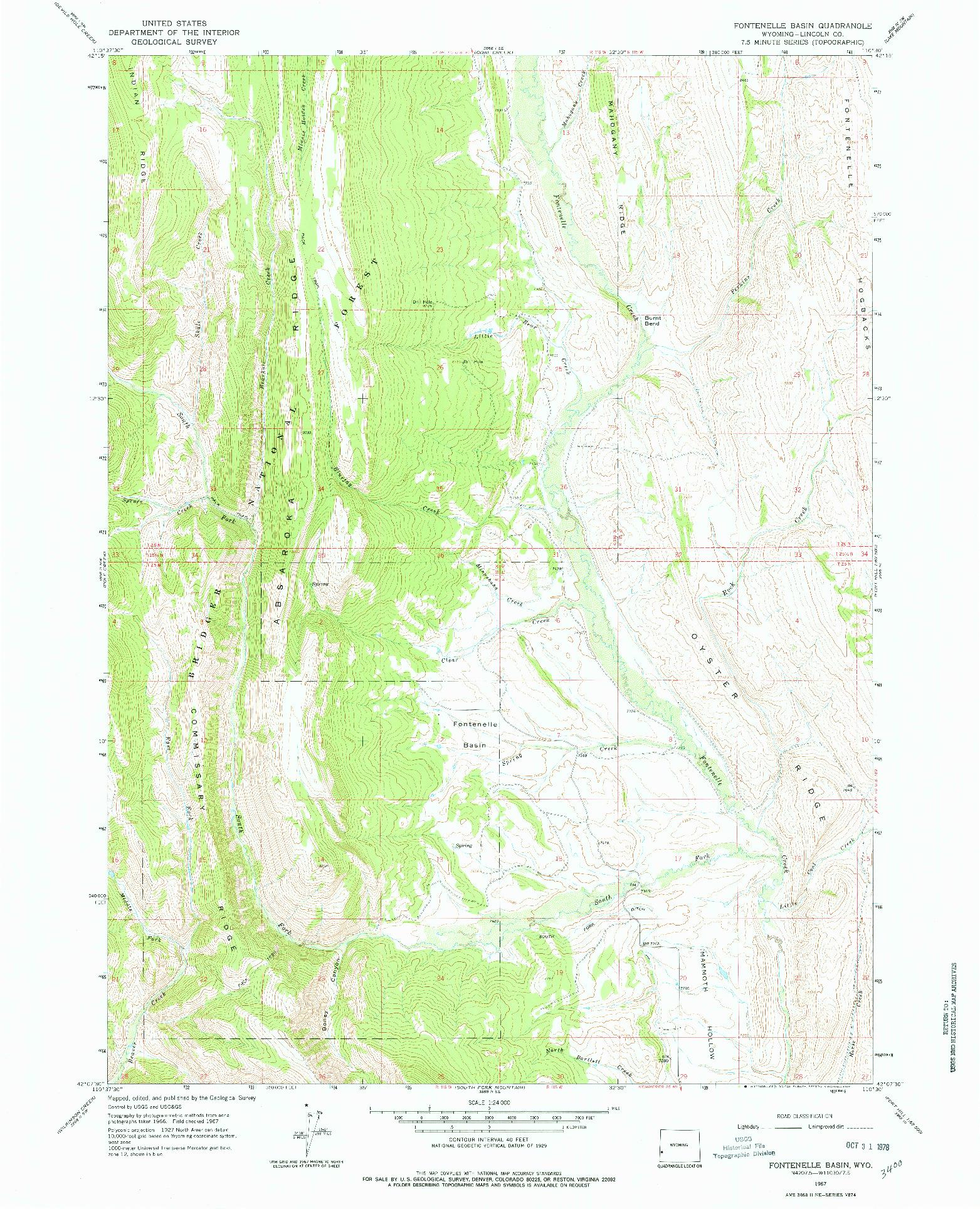 USGS 1:24000-SCALE QUADRANGLE FOR FONTENELLE BASIN, WY 1967