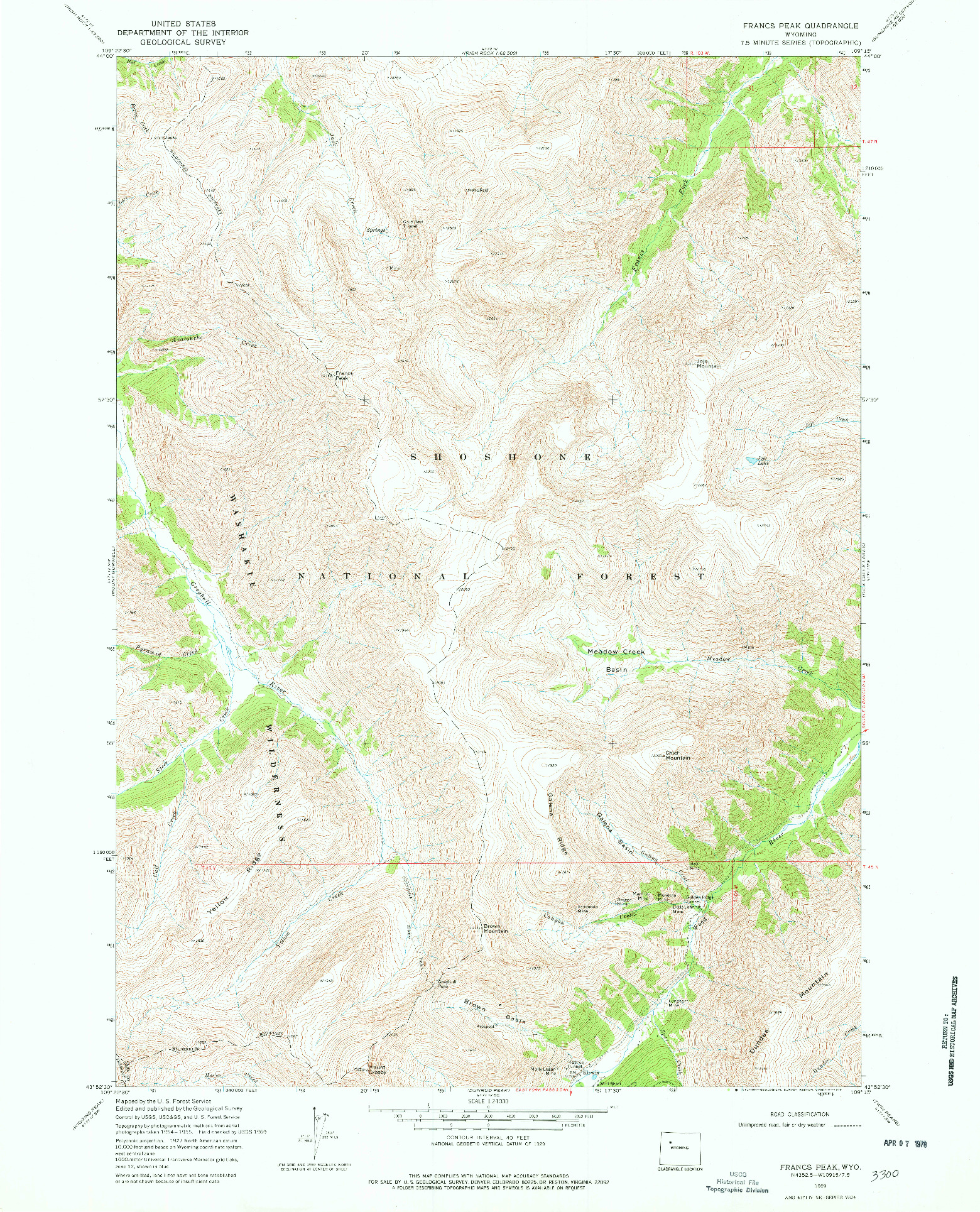 USGS 1:24000-SCALE QUADRANGLE FOR FRANCS PEAK, WY 1969