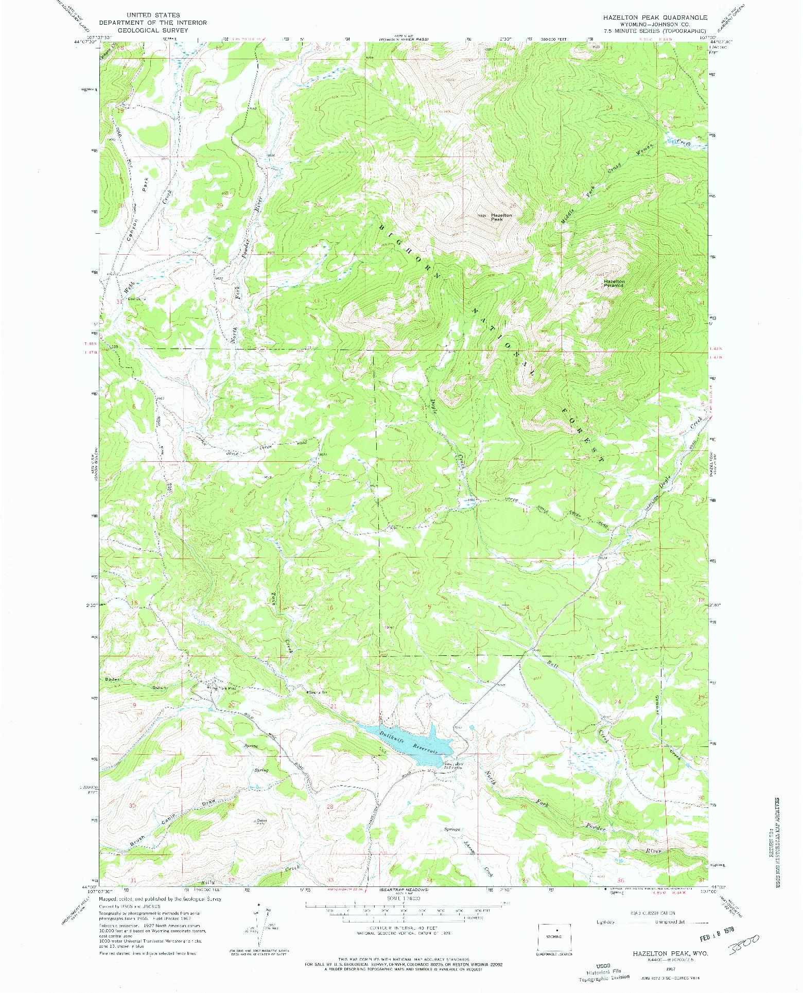 USGS 1:24000-SCALE QUADRANGLE FOR HAZELTON PEAK, WY 1967