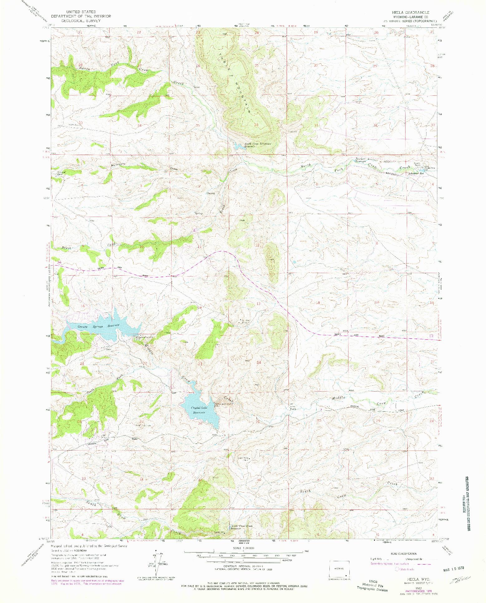 USGS 1:24000-SCALE QUADRANGLE FOR HECLA, WY 1962