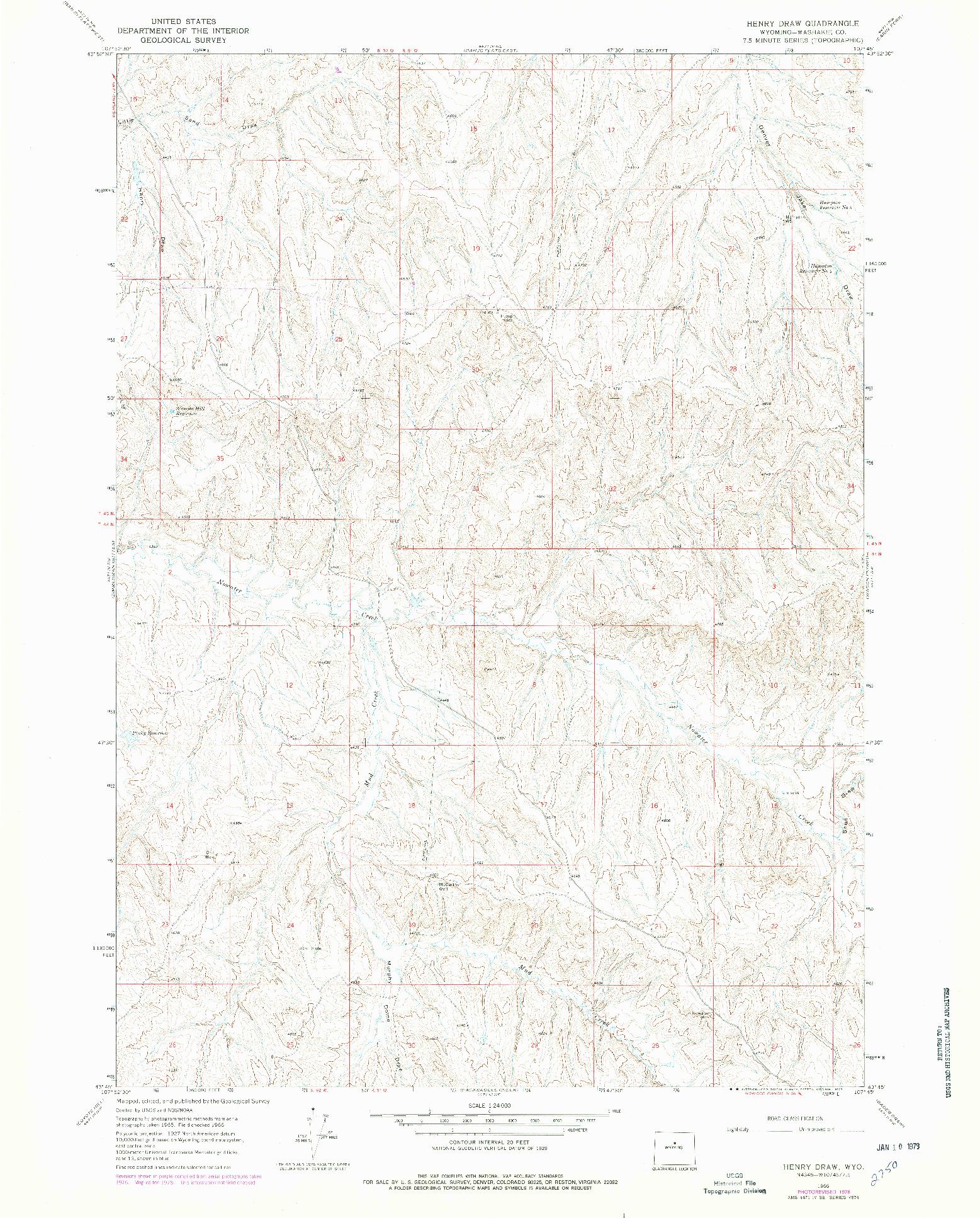 USGS 1:24000-SCALE QUADRANGLE FOR HENRY DRAW, WY 1966