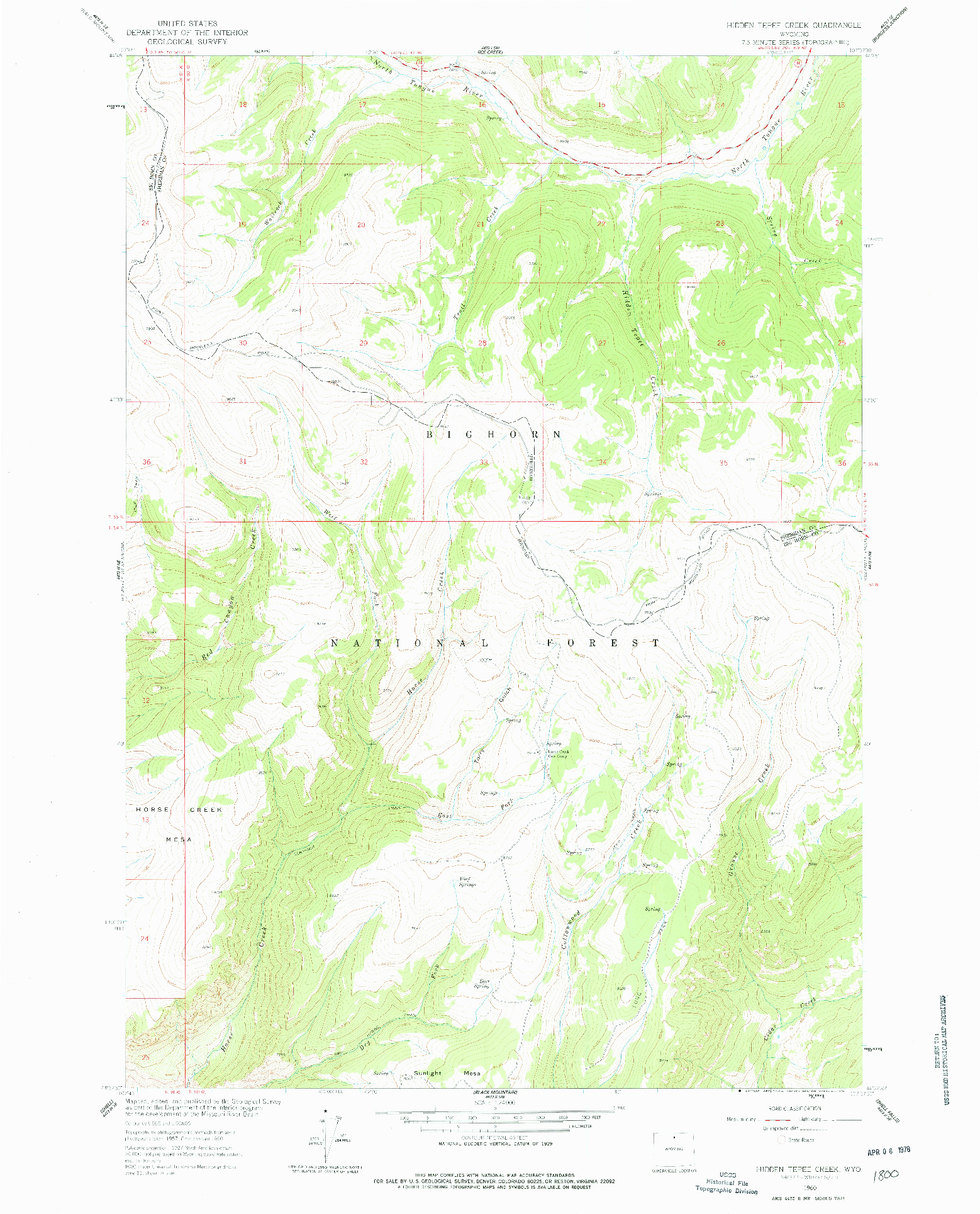 USGS 1:24000-SCALE QUADRANGLE FOR HIDDEN TEPEE CREEK, WY 1960