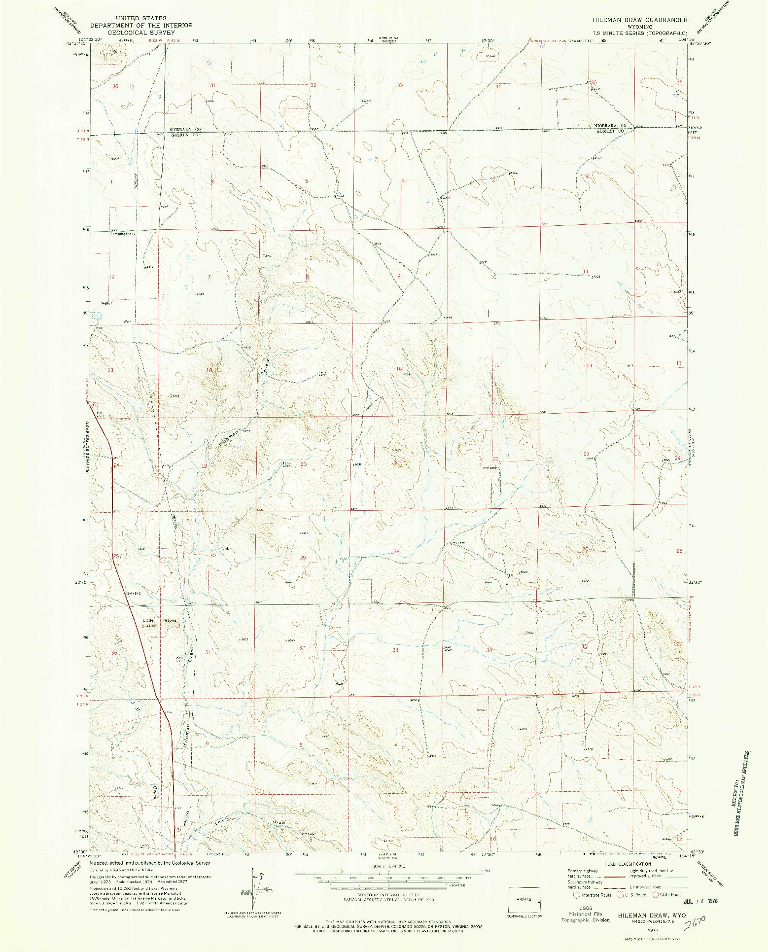 USGS 1:24000-SCALE QUADRANGLE FOR HILEMAN DRAW, WY 1977