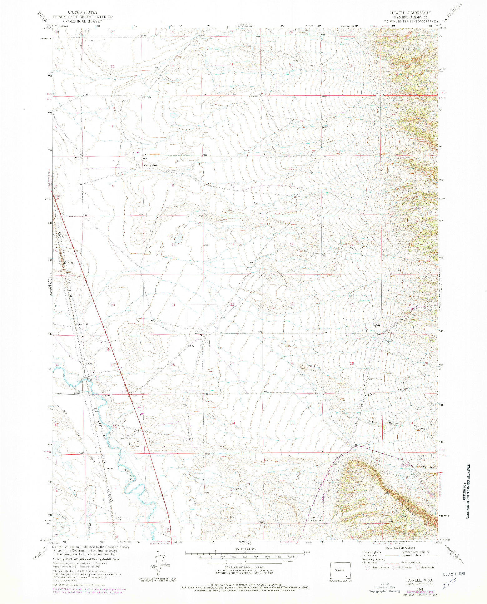 USGS 1:24000-SCALE QUADRANGLE FOR HOWELL, WY 1963
