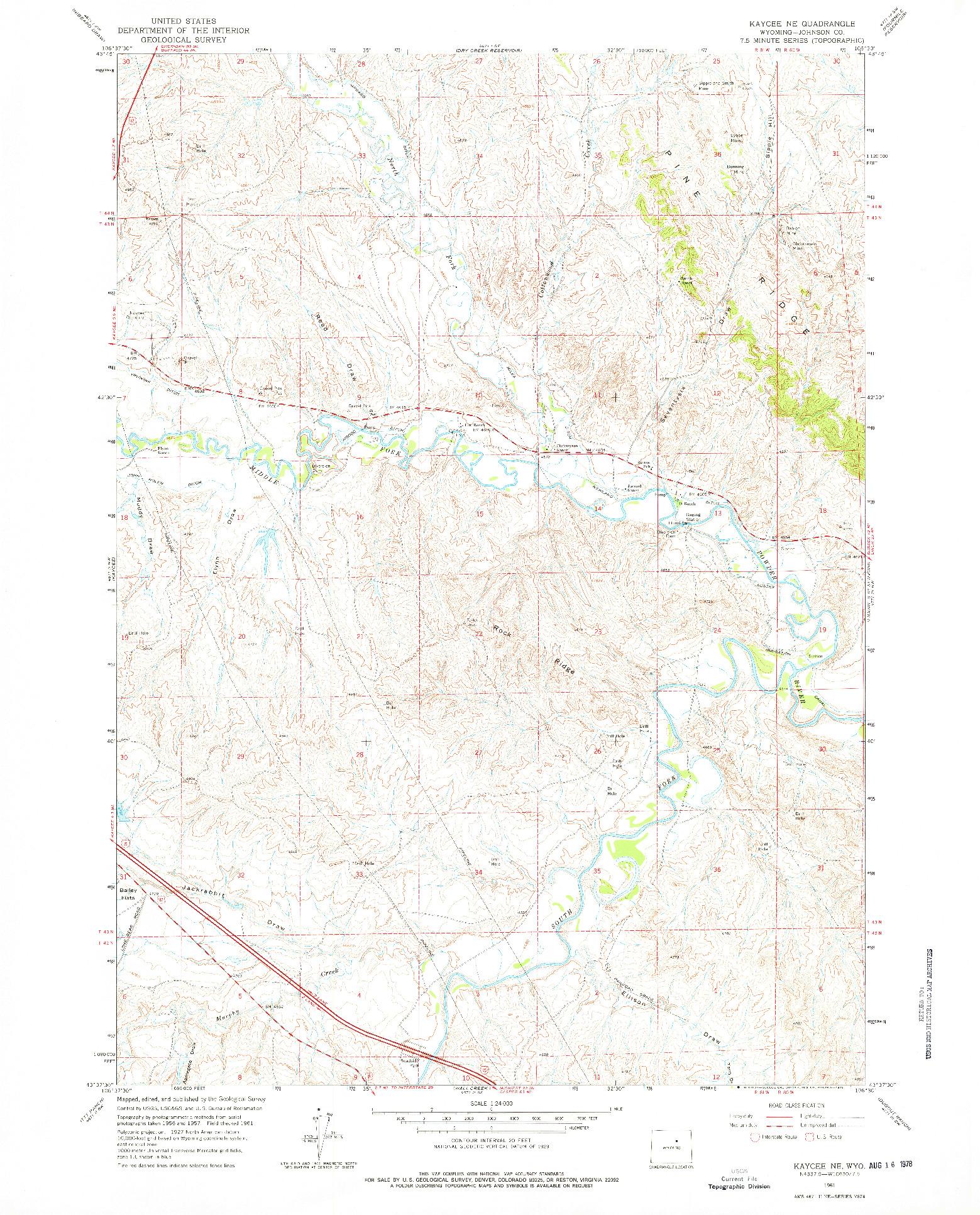 USGS 1:24000-SCALE QUADRANGLE FOR KAYCEE NE, WY 1961