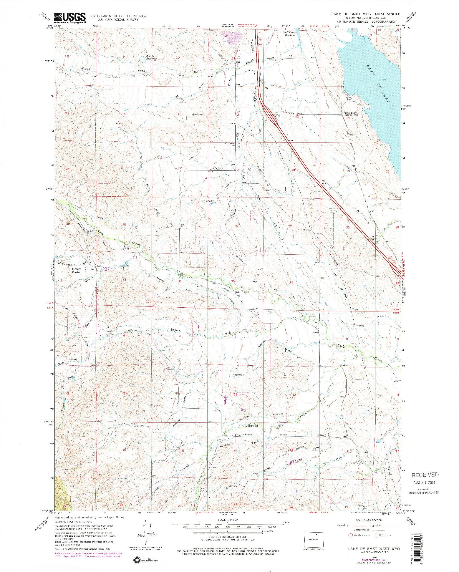 USGS 1:24000-SCALE QUADRANGLE FOR LAKE DE SMET WEST, WY 1967