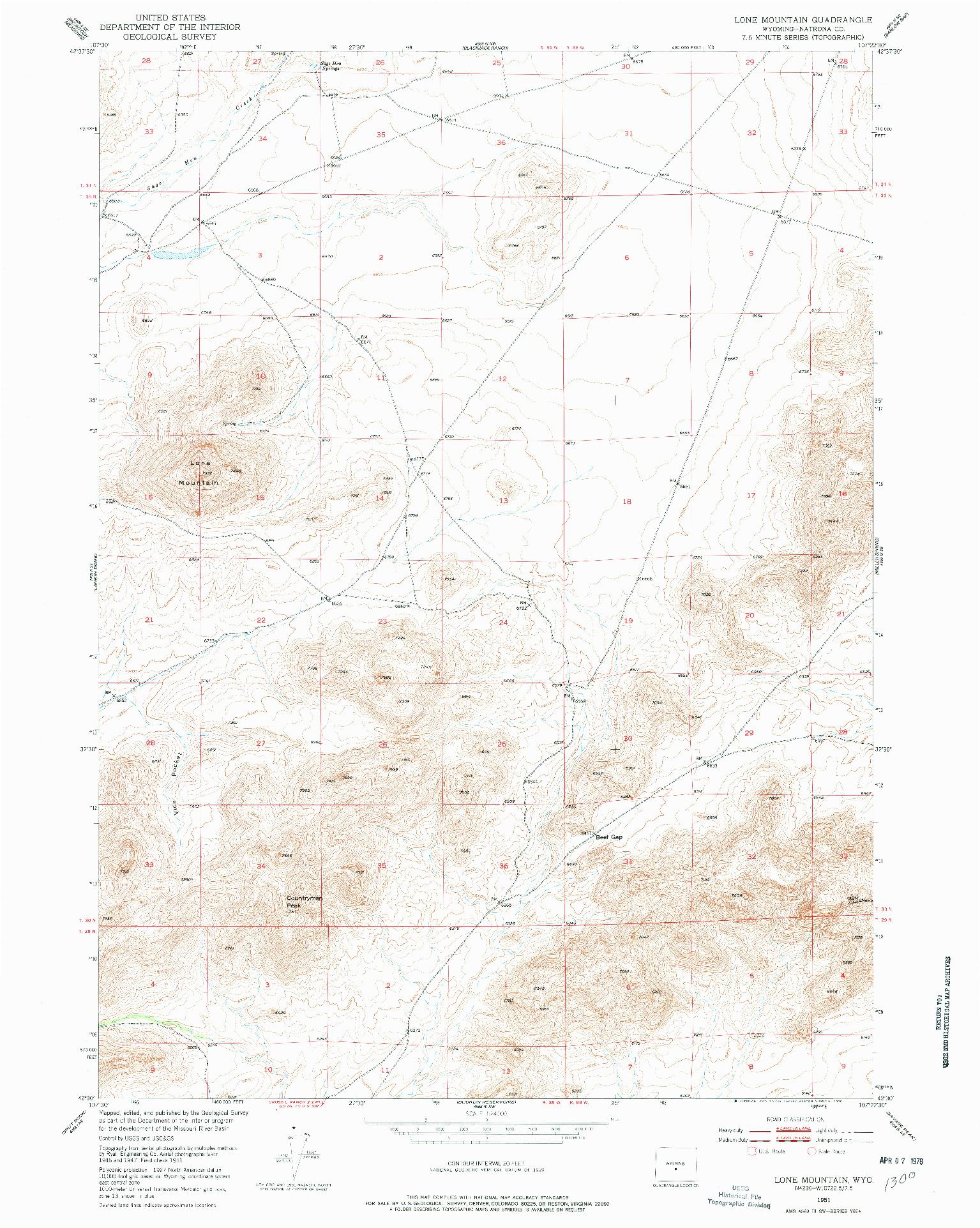 USGS 1:24000-SCALE QUADRANGLE FOR LONE MOUNTAIN, WY 1951