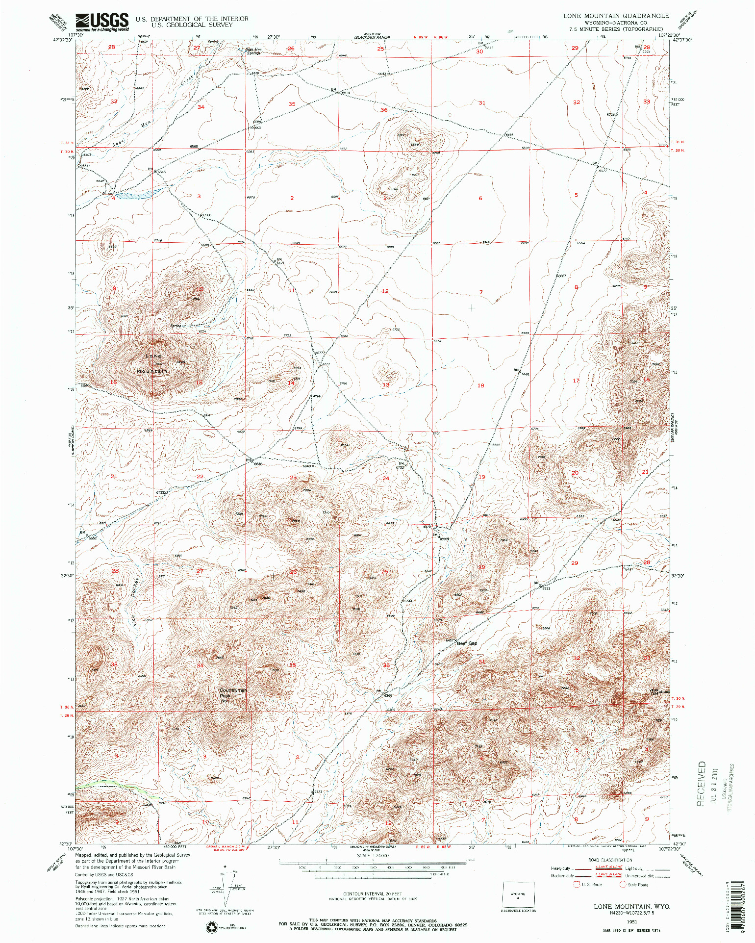 USGS 1:24000-SCALE QUADRANGLE FOR LONE MOUNTAIN, WY 1951