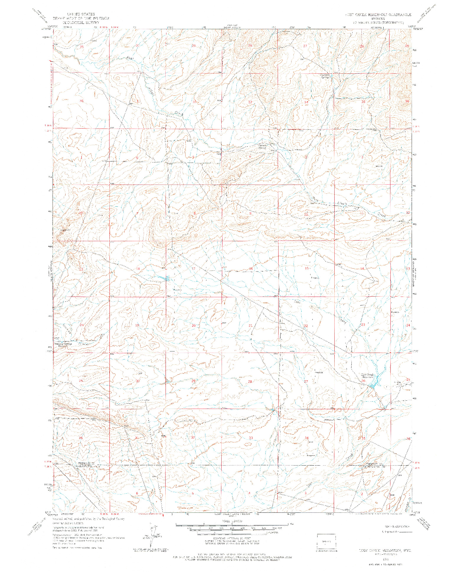 USGS 1:24000-SCALE QUADRANGLE FOR LOST CREEK RESERVOIR, WY 1961