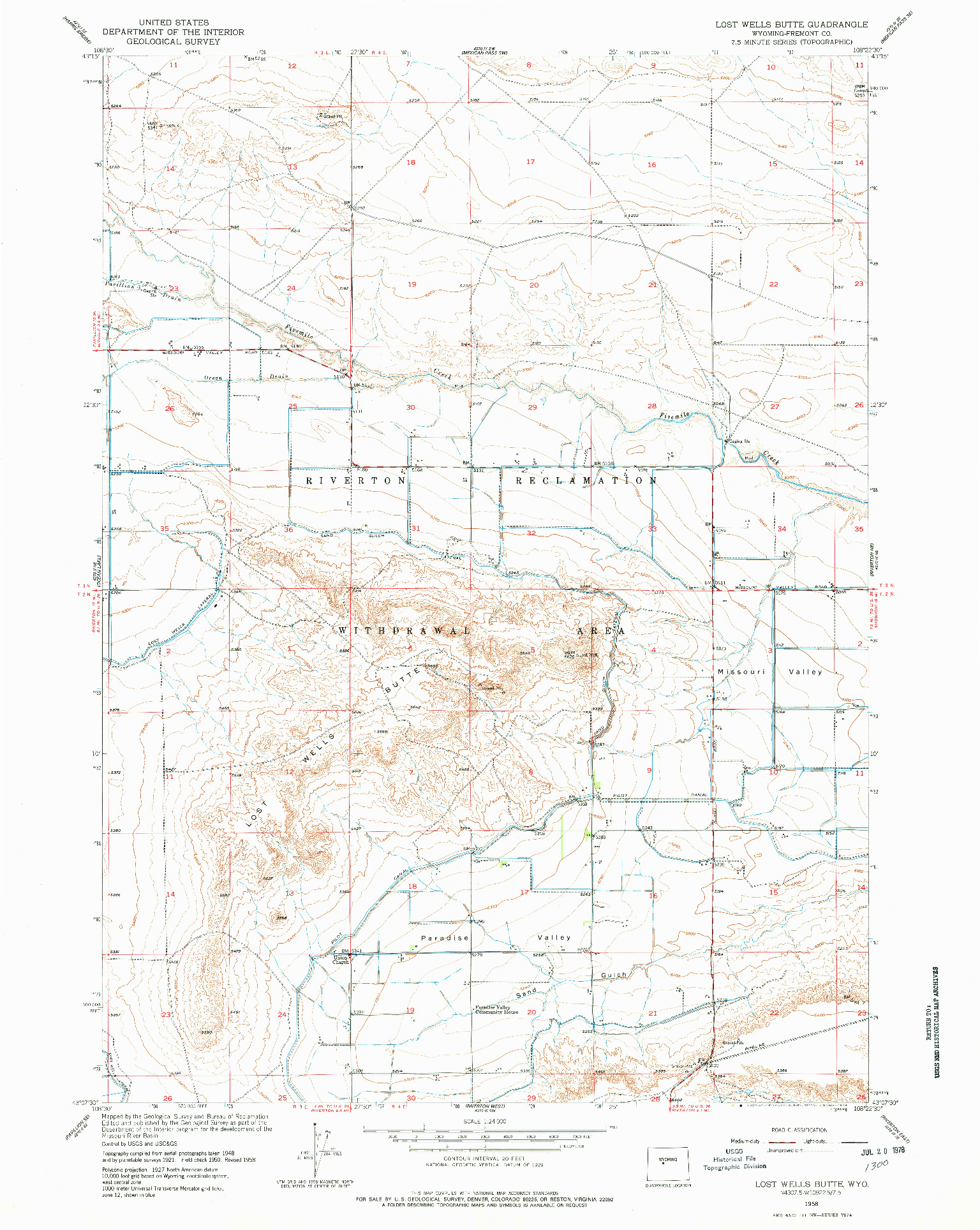 USGS 1:24000-SCALE QUADRANGLE FOR LOST WELLS BUTTE, WY 1958
