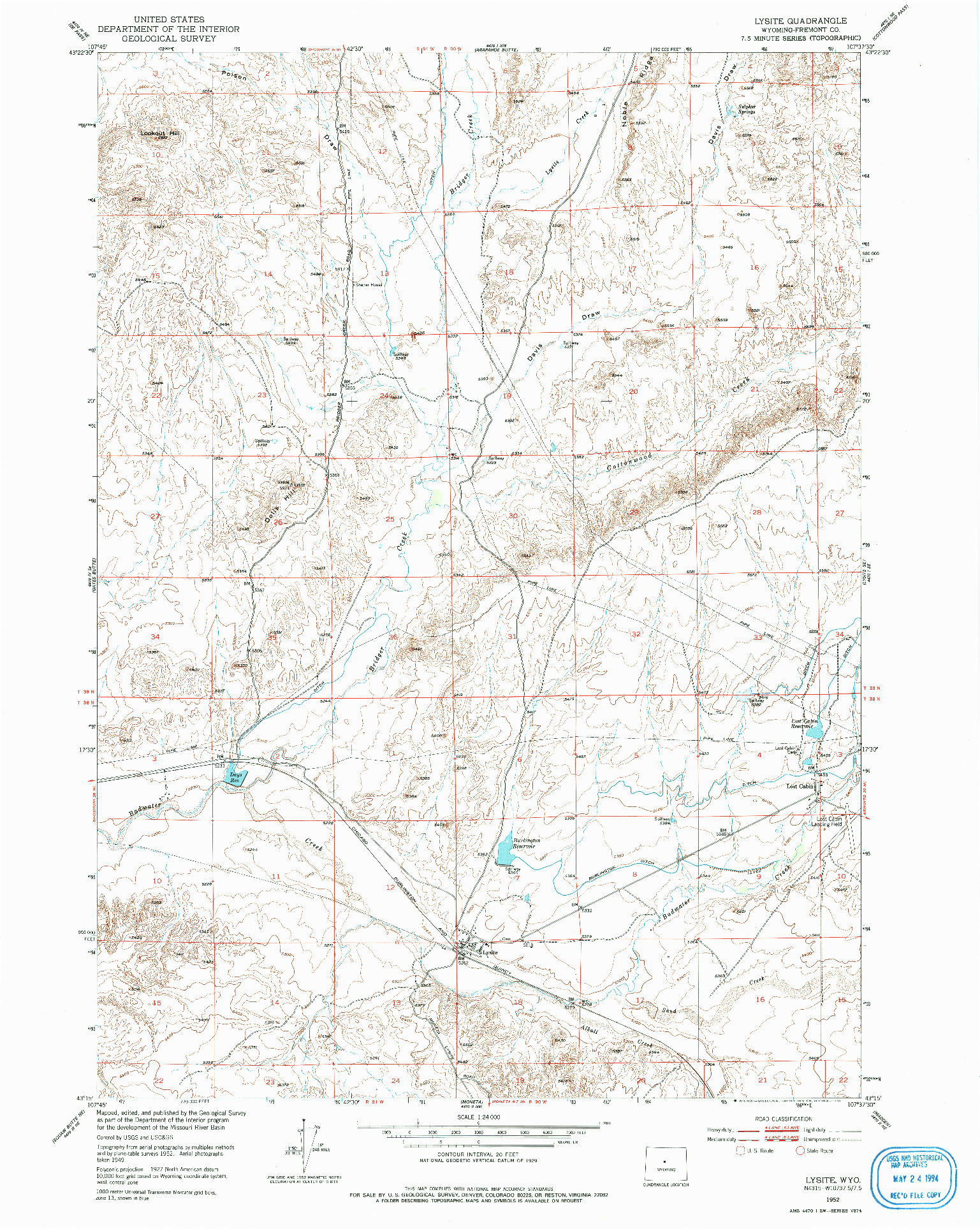 USGS 1:24000-SCALE QUADRANGLE FOR LYSITE, WY 1952