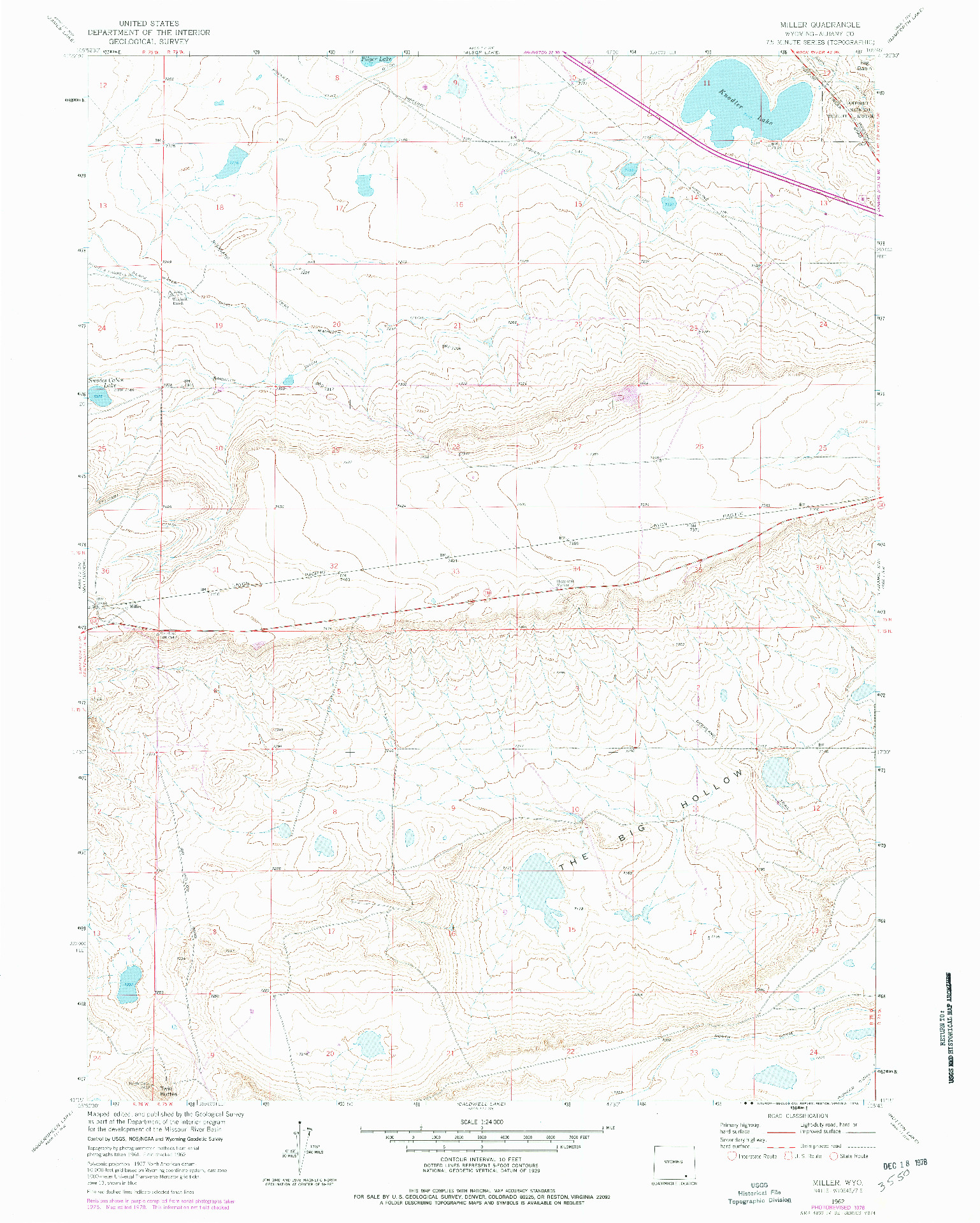 USGS 1:24000-SCALE QUADRANGLE FOR MILLER, WY 1962