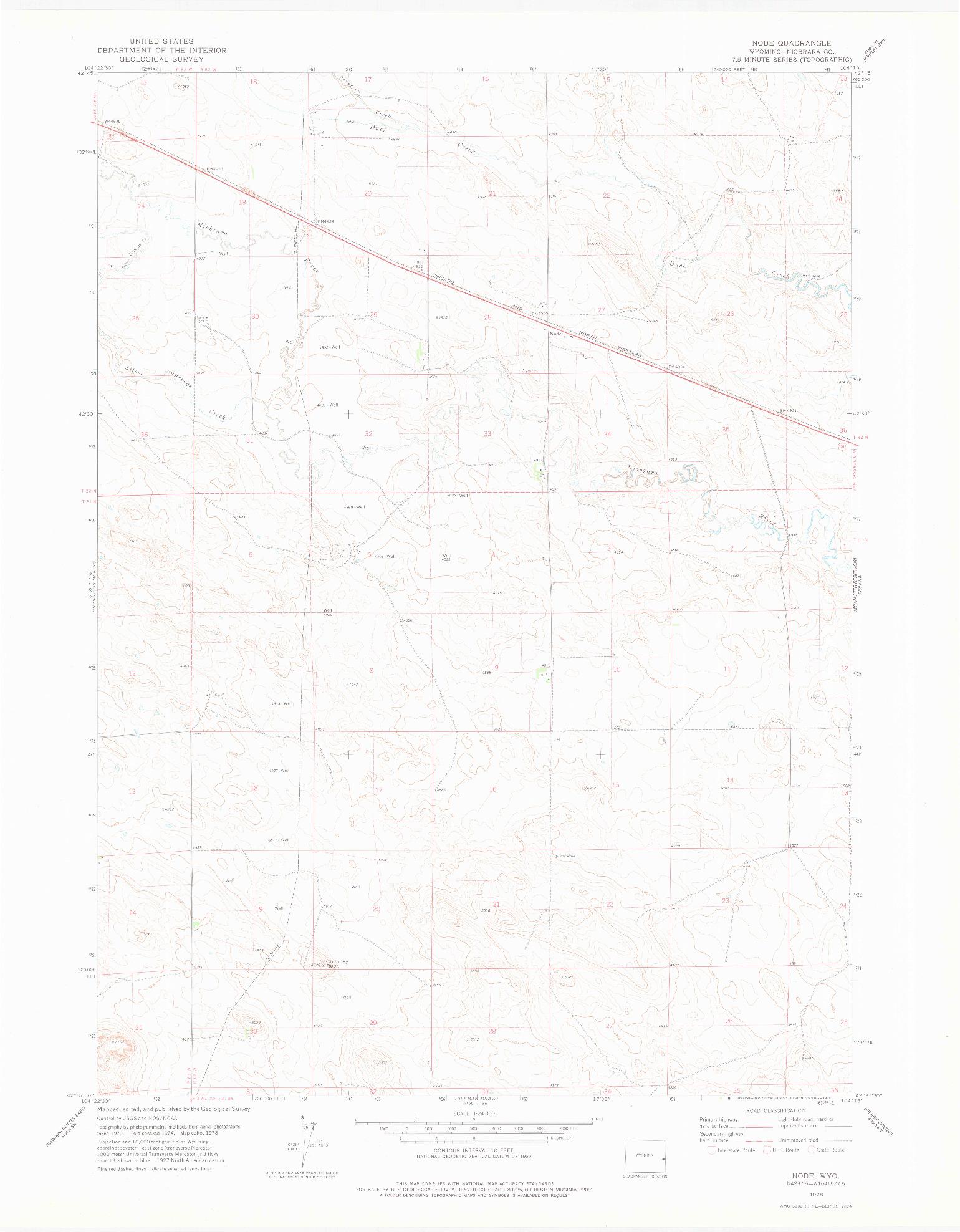 USGS 1:24000-SCALE QUADRANGLE FOR NODE, WY 1978