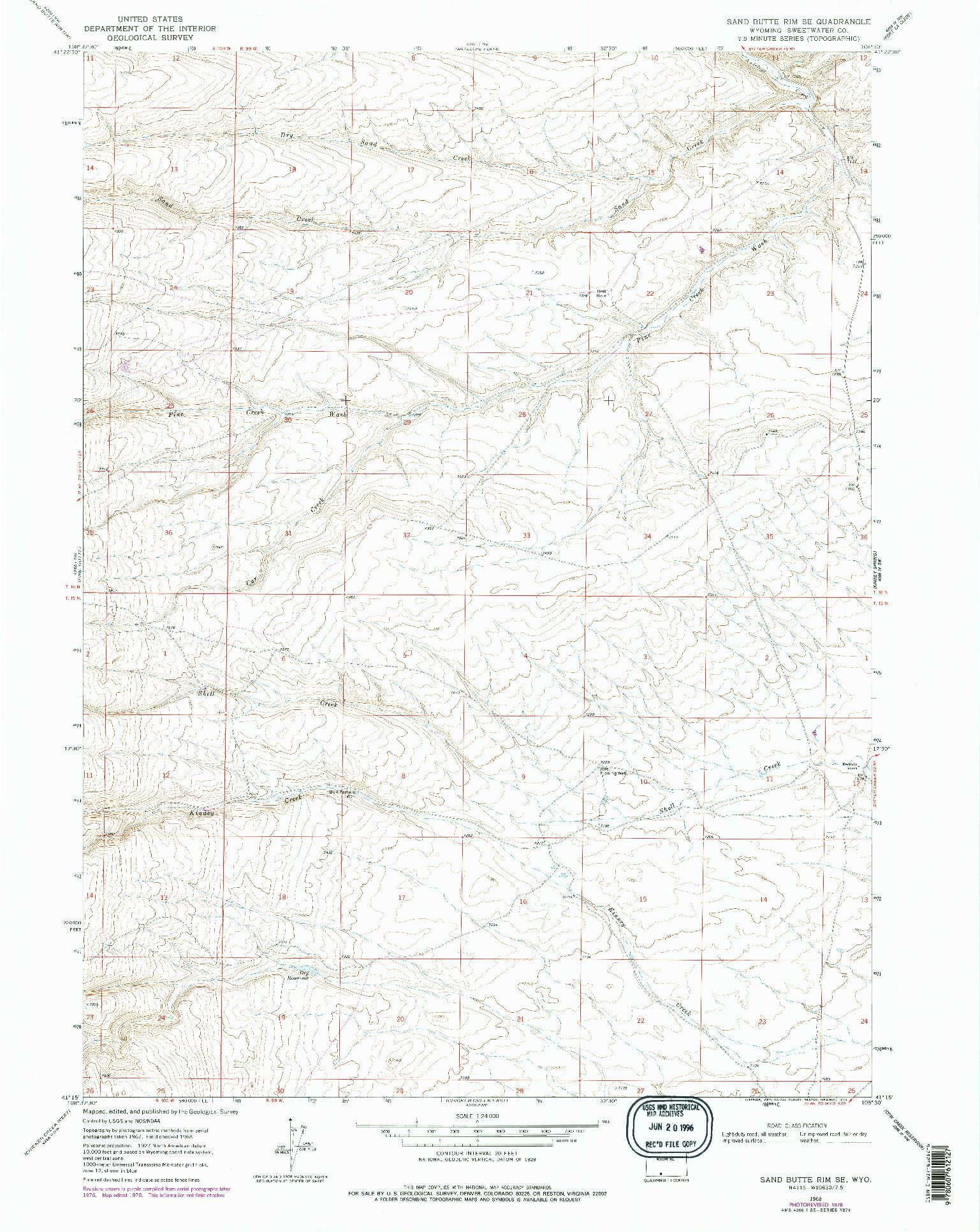 USGS 1:24000-SCALE QUADRANGLE FOR SAND BUTTE RIM SE, WY 1968