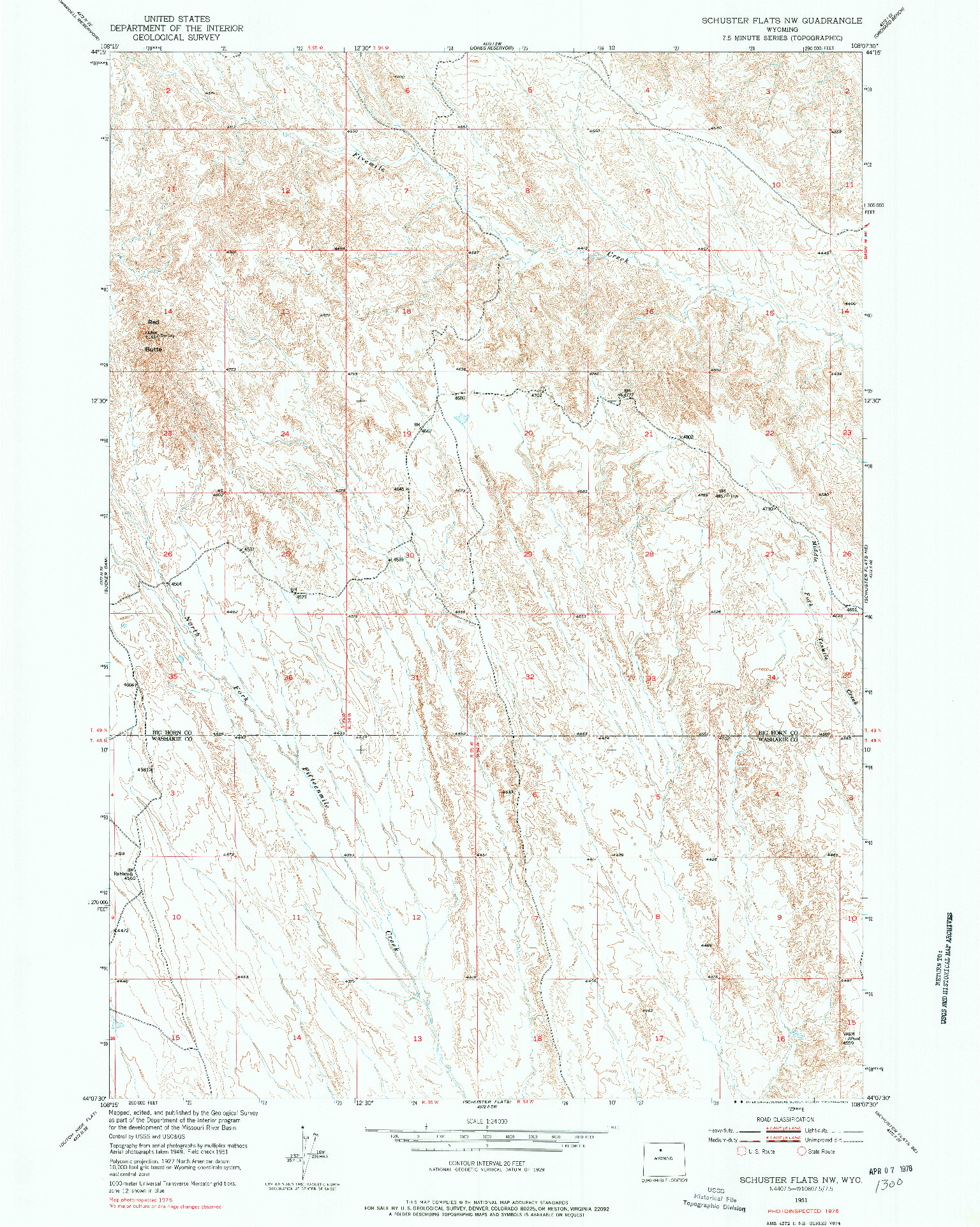 USGS 1:24000-SCALE QUADRANGLE FOR SCHUSTER FLATS NW, WY 1951