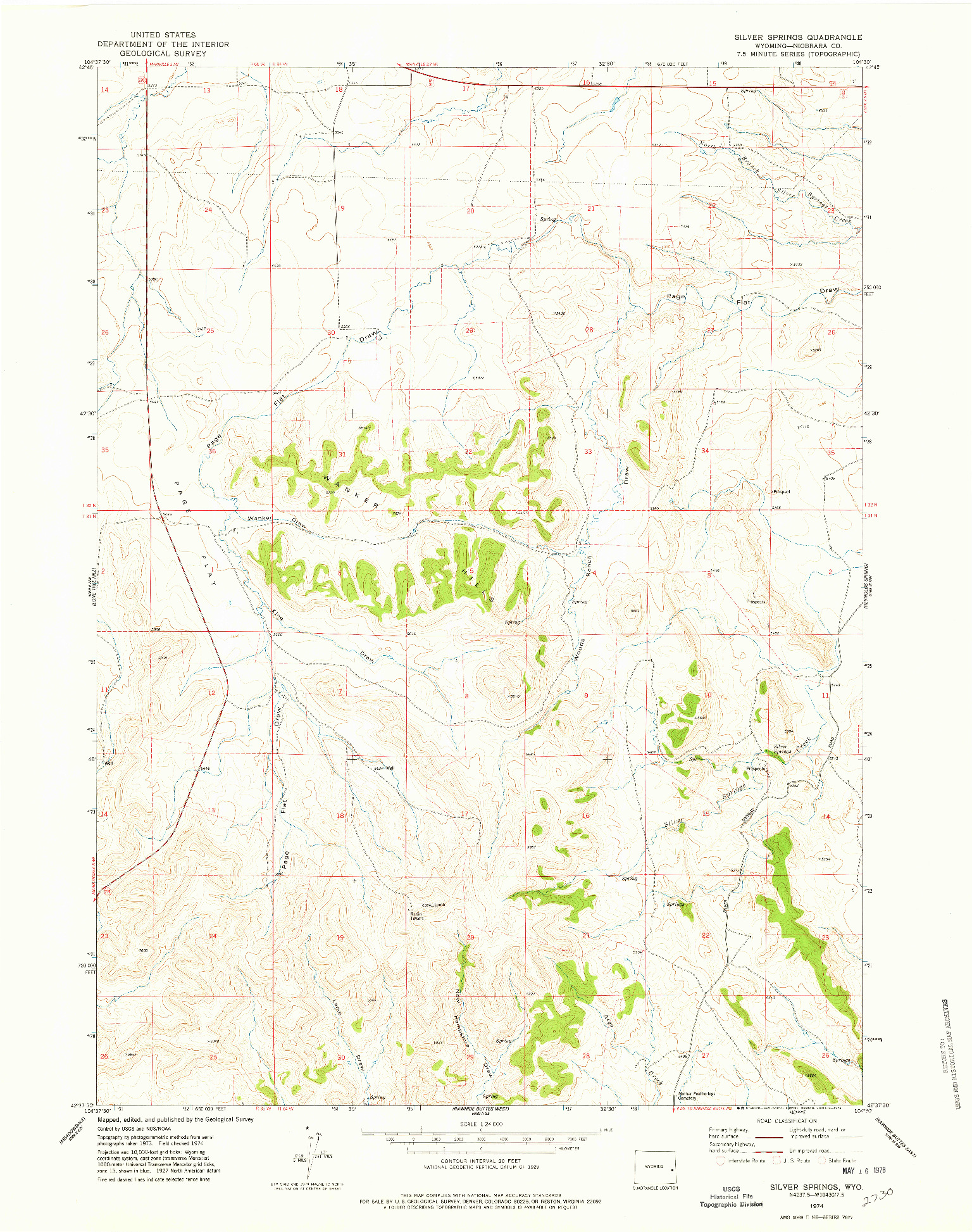 USGS 1:24000-SCALE QUADRANGLE FOR SILVER SPRINGS, WY 1974