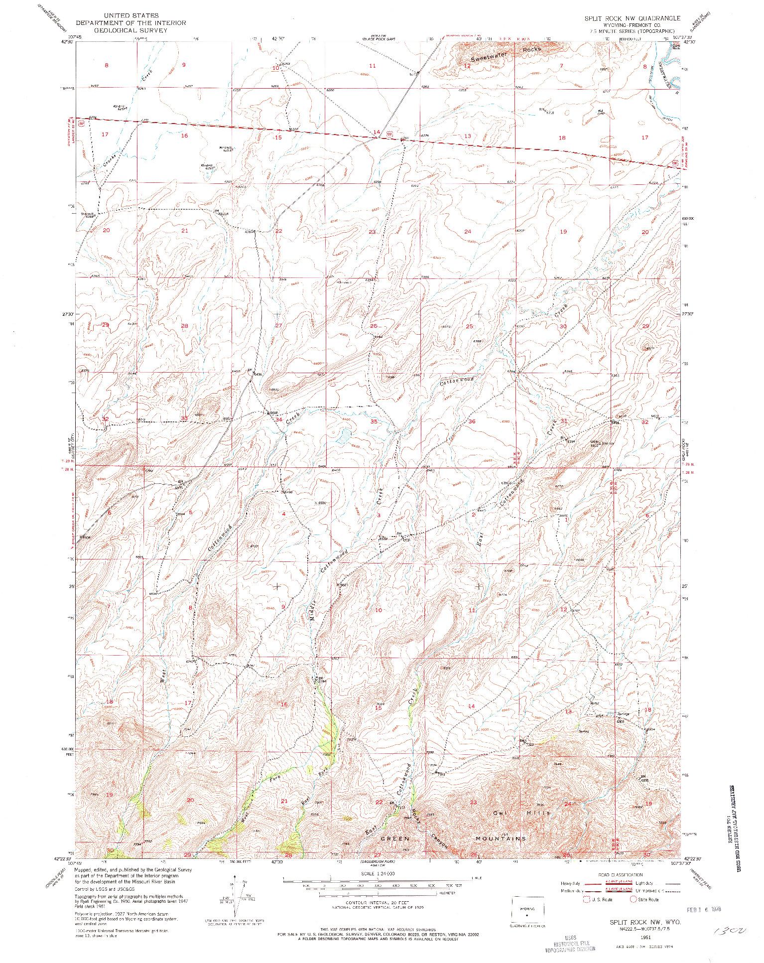 USGS 1:24000-SCALE QUADRANGLE FOR SPLIT ROCK NW, WY 1951