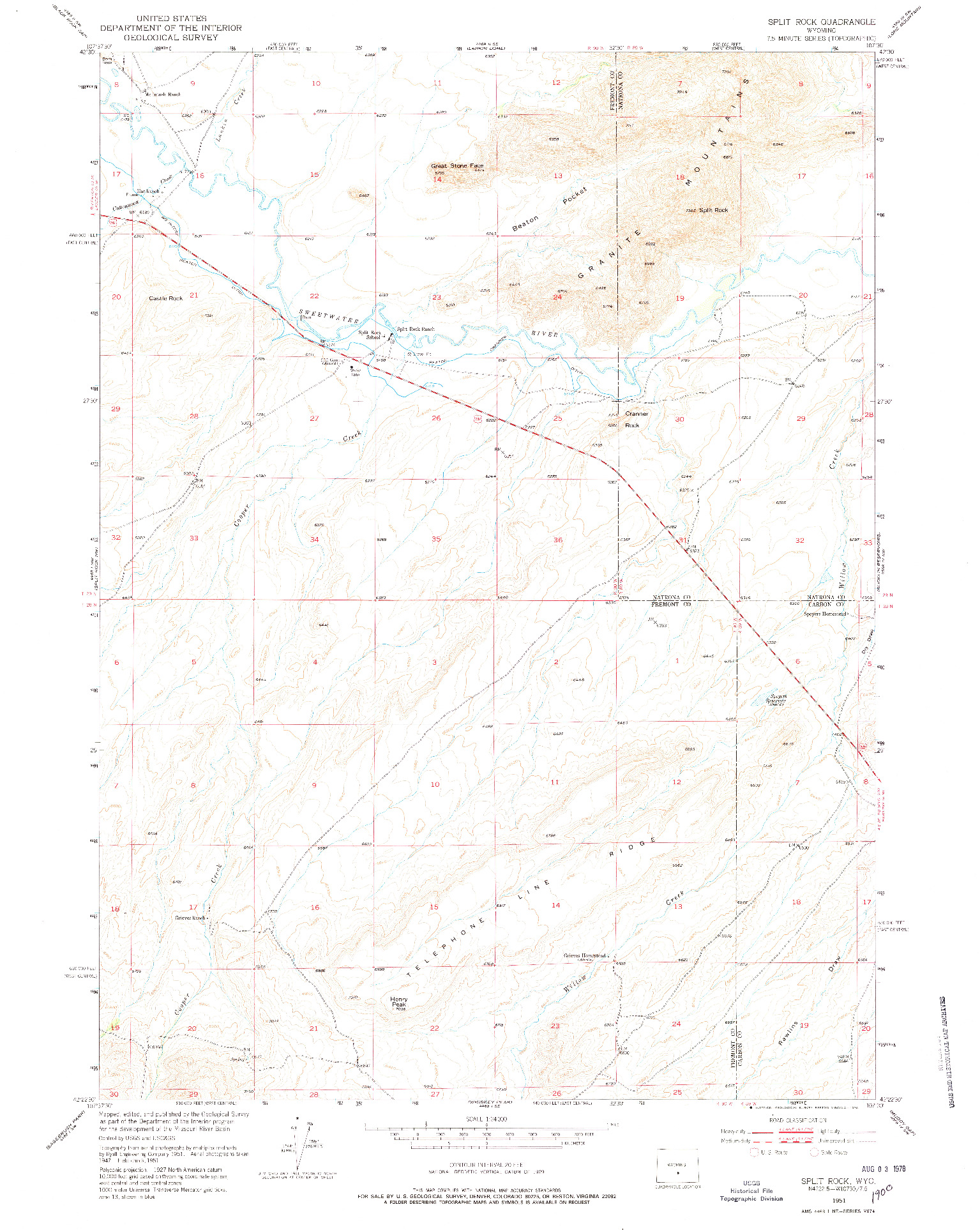 USGS 1:24000-SCALE QUADRANGLE FOR SPLIT ROCK, WY 1951