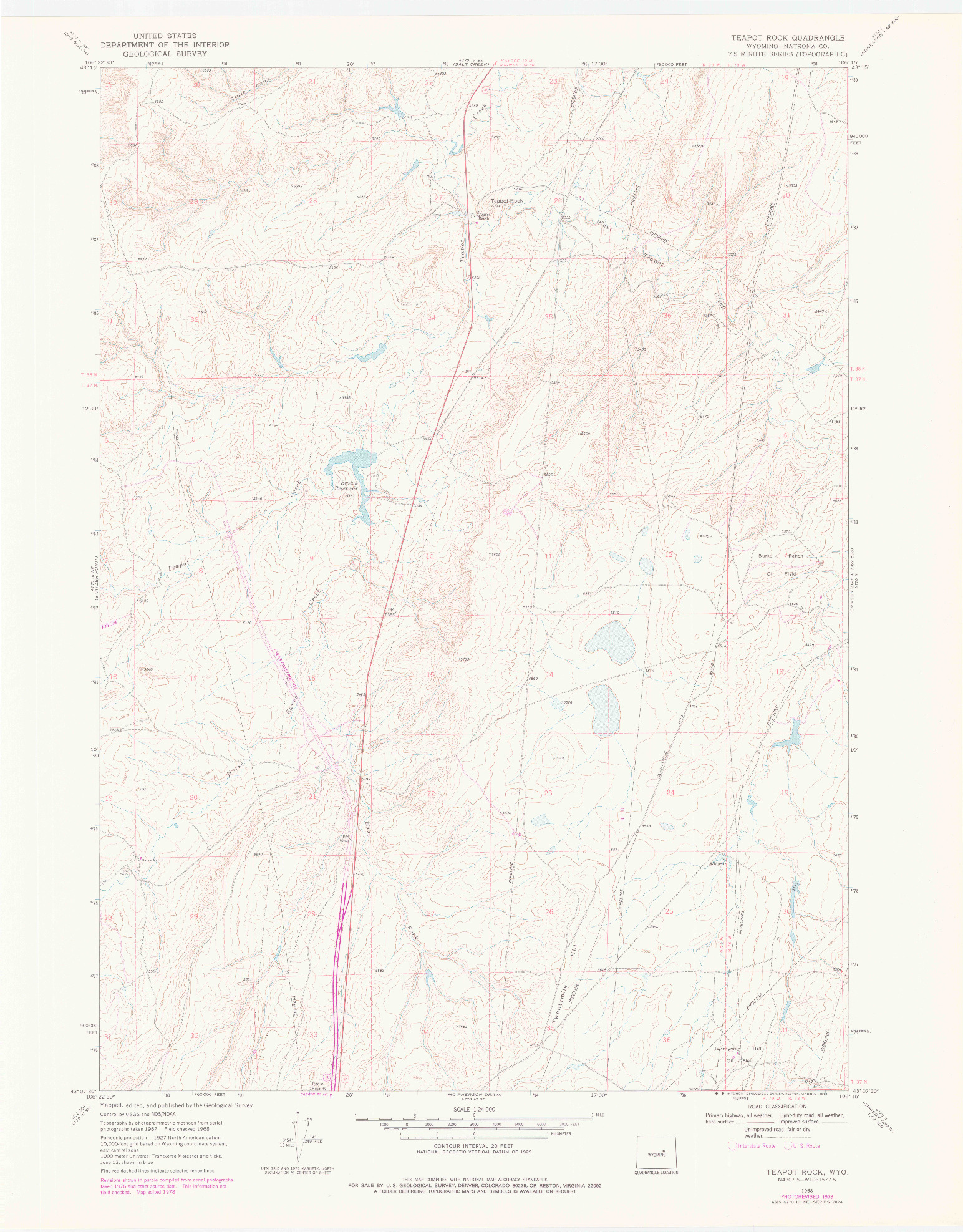 USGS 1:24000-SCALE QUADRANGLE FOR TEAPOT ROCK, WY 1968