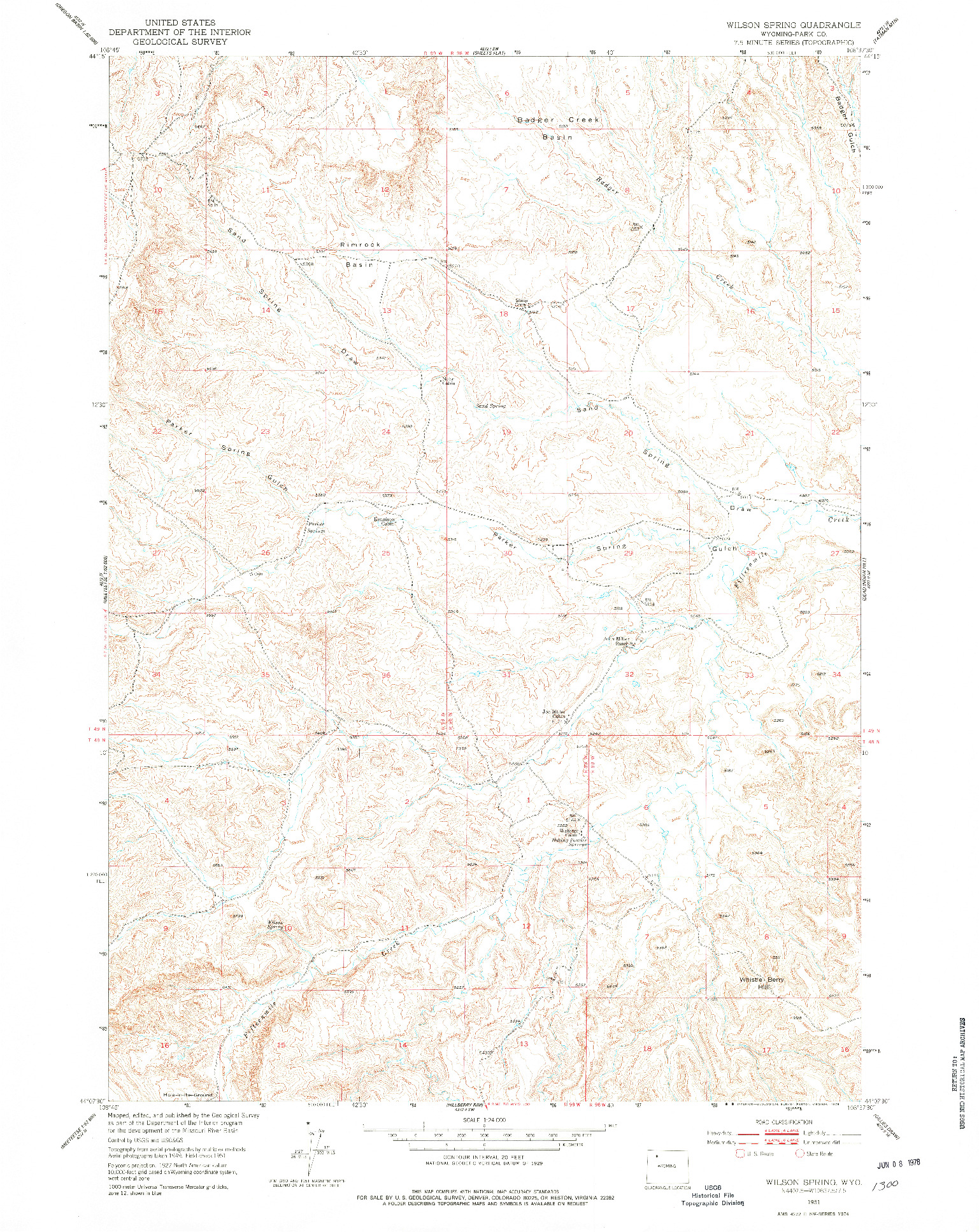 USGS 1:24000-SCALE QUADRANGLE FOR WILSON SPRING, WY 1951