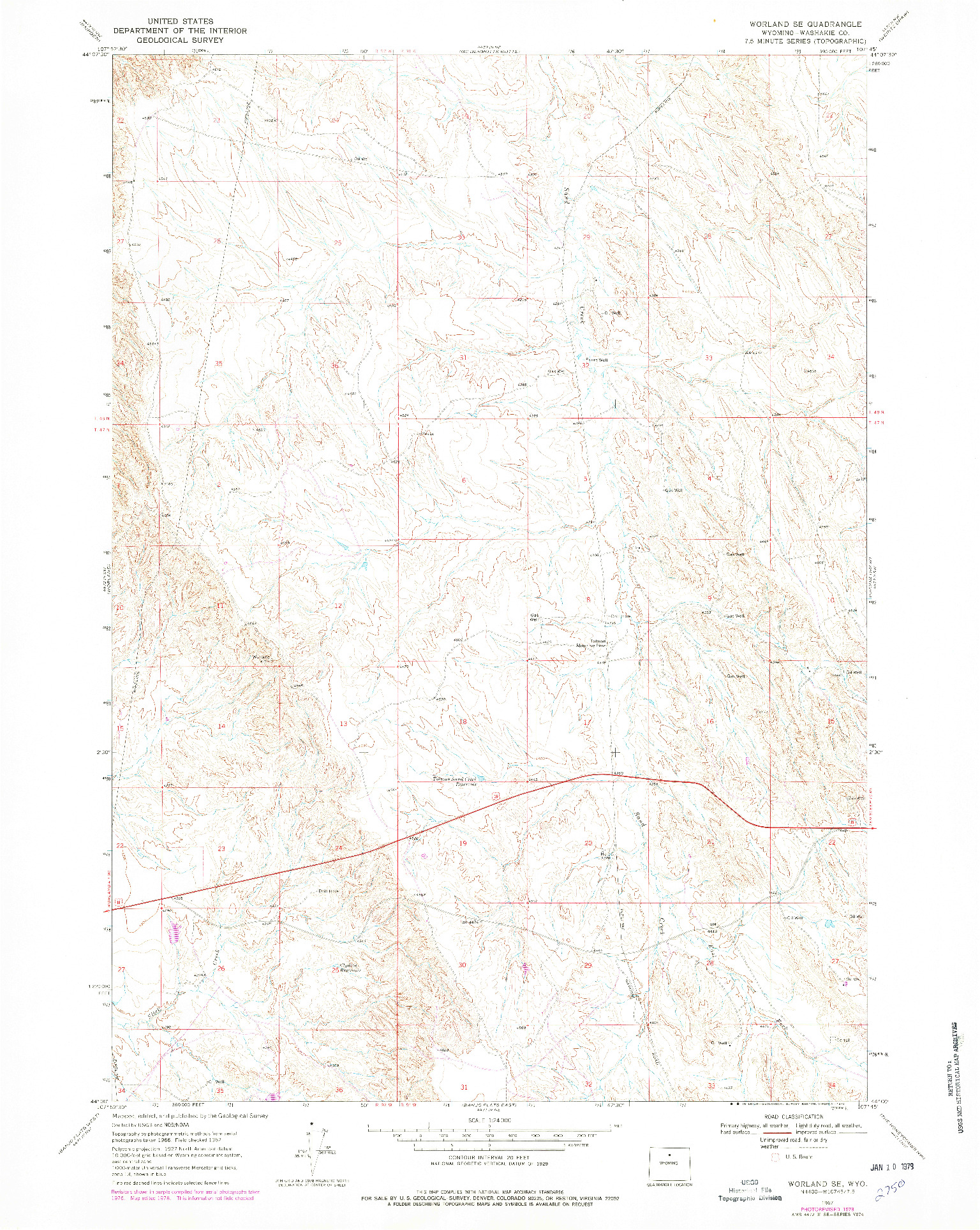 USGS 1:24000-SCALE QUADRANGLE FOR WORLAND SE, WY 1967