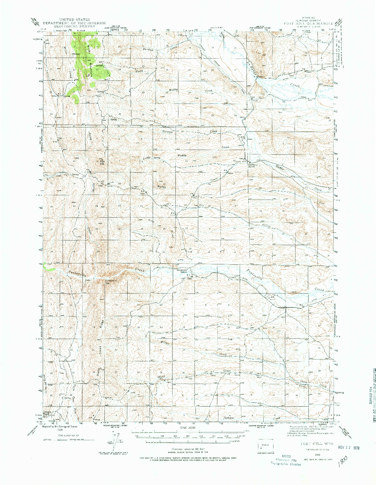 USGS 1:62500-SCALE QUADRANGLE FOR FORT HILL, WY 1945