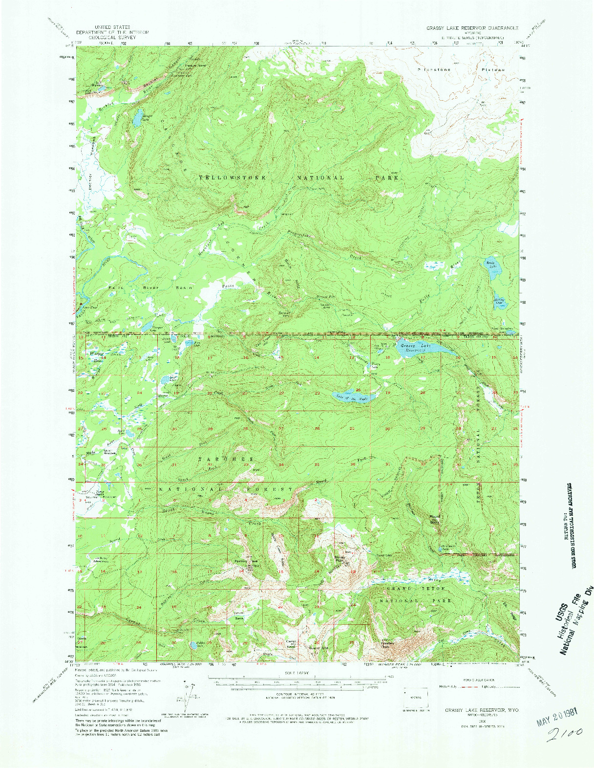 USGS 1:62500-SCALE QUADRANGLE FOR GRASSY LAKE RESERVOIR, WY 1956