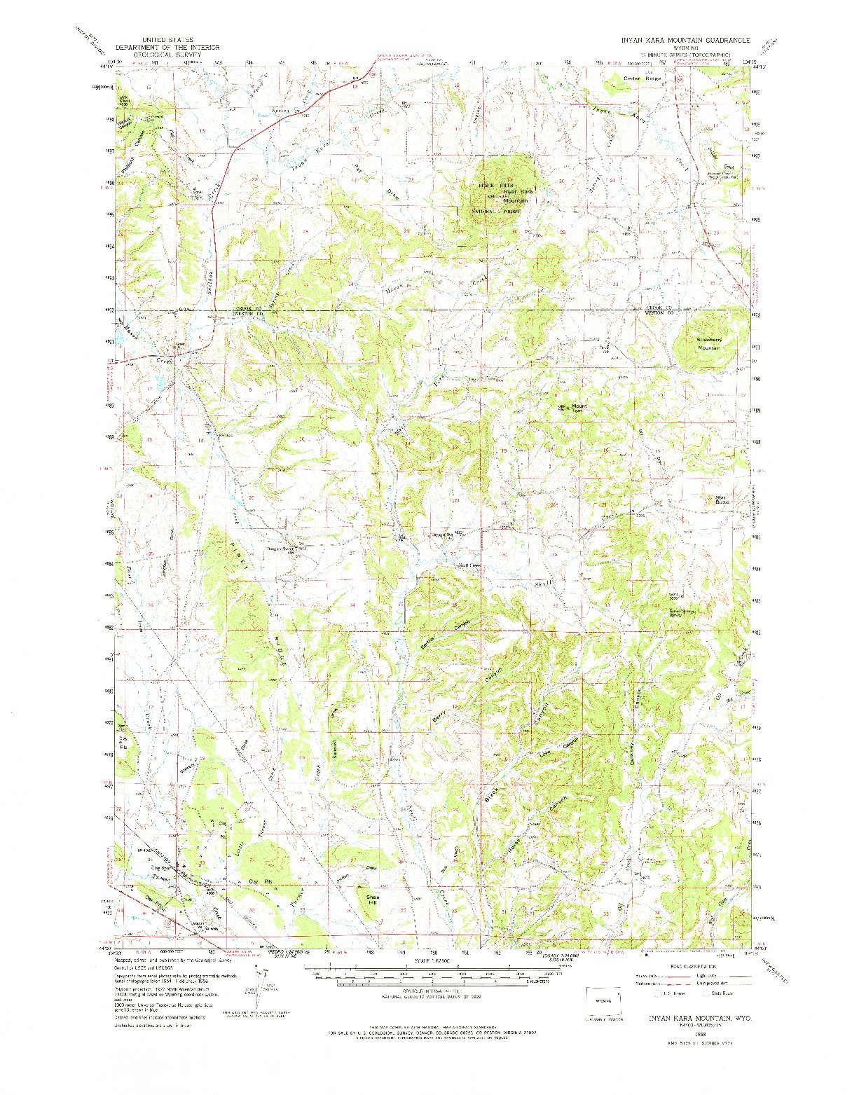 USGS 1:62500-SCALE QUADRANGLE FOR INYAN KARA MOUNTAIN, WY 1958