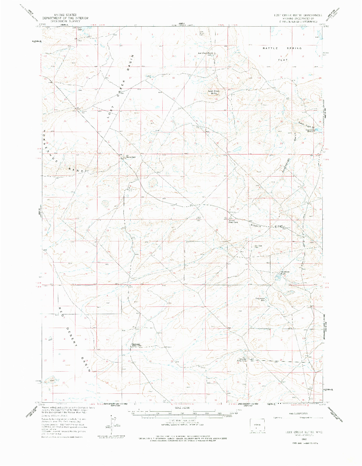 USGS 1:62500-SCALE QUADRANGLE FOR LOST CREEK BUTTE, WY 1960