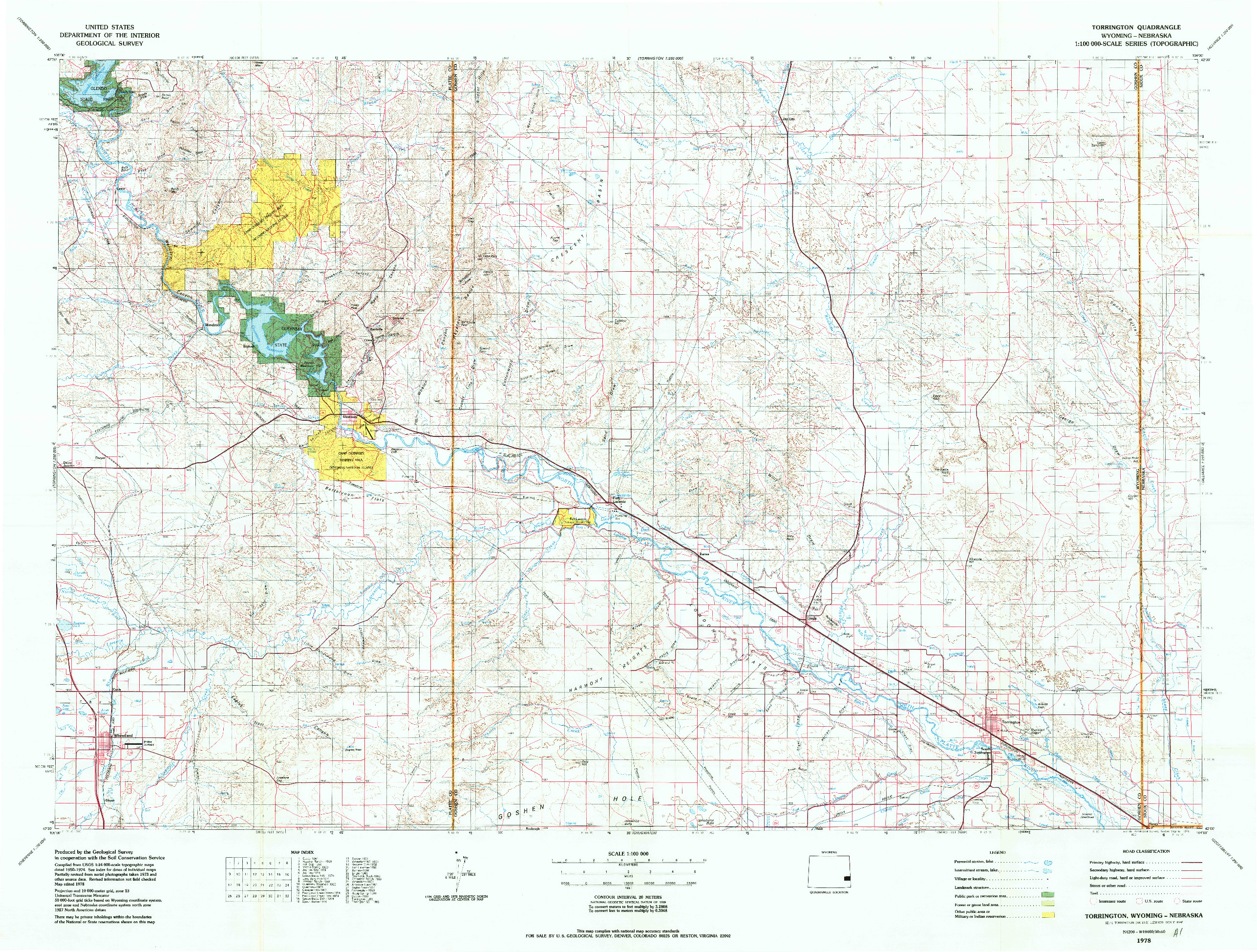 USGS 1:100000-SCALE QUADRANGLE FOR TORRINGTON, WY 1978