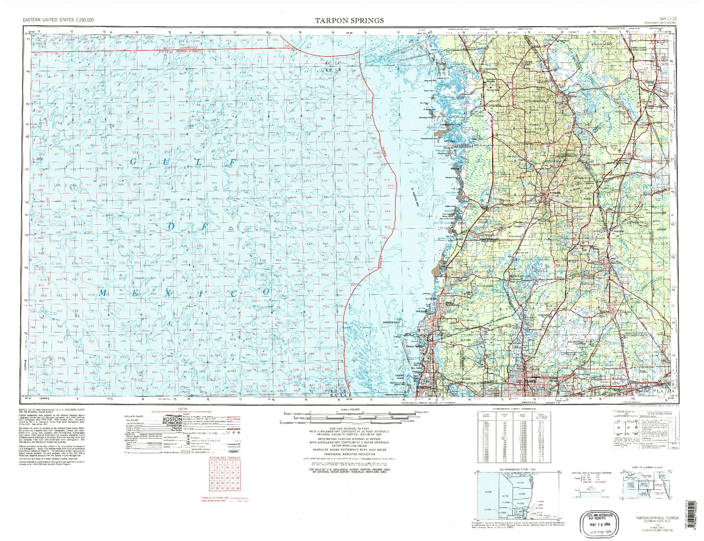 USGS 1:250000-SCALE QUADRANGLE FOR TARPON SPRINGS, FL 1955
