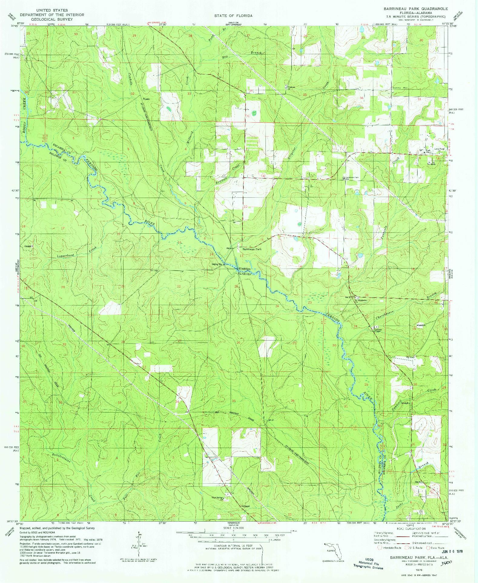 USGS 1:24000-SCALE QUADRANGLE FOR BARRINEAU PARK, FL 1978