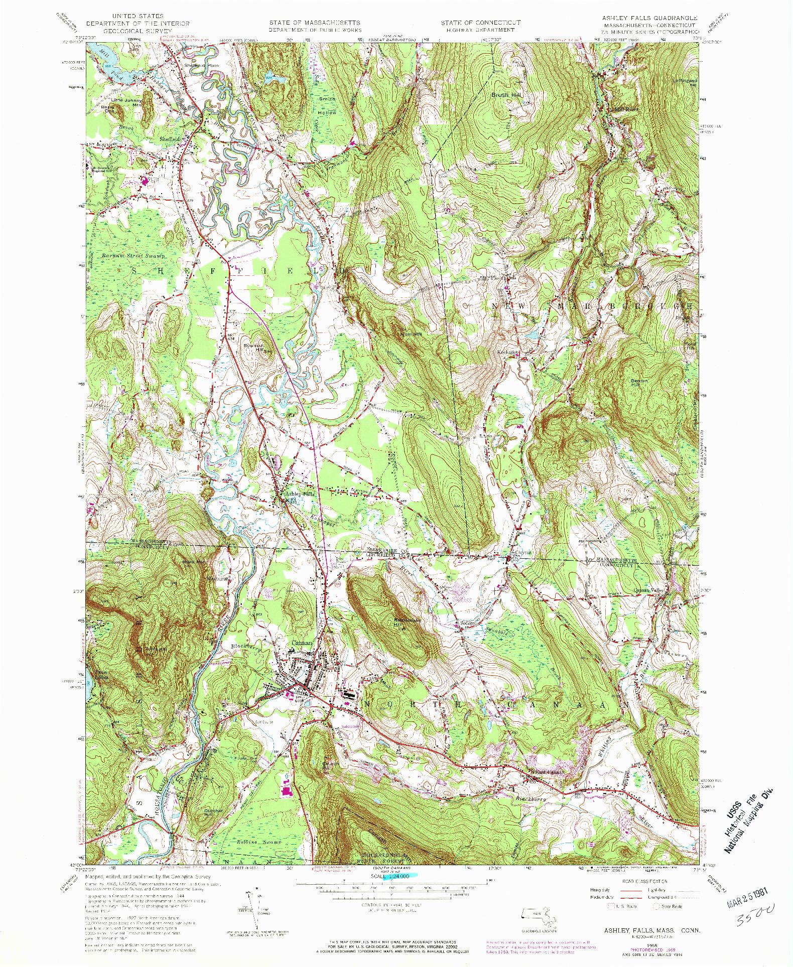 USGS 1:24000-SCALE QUADRANGLE FOR ASHLEY FALLS, MA 1958