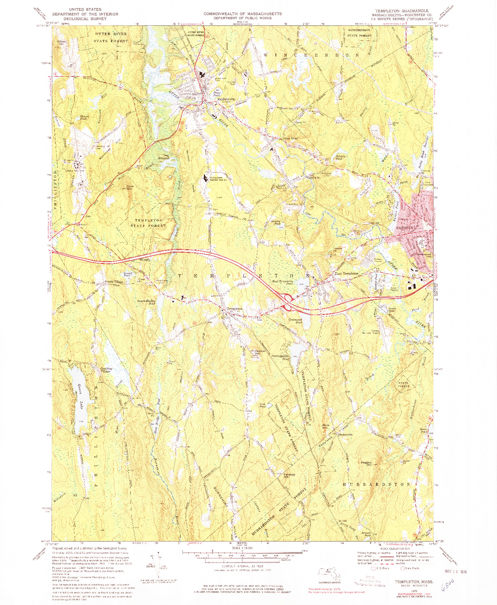 USGS 1:24000-SCALE QUADRANGLE FOR TEMPLETON, MA 1970